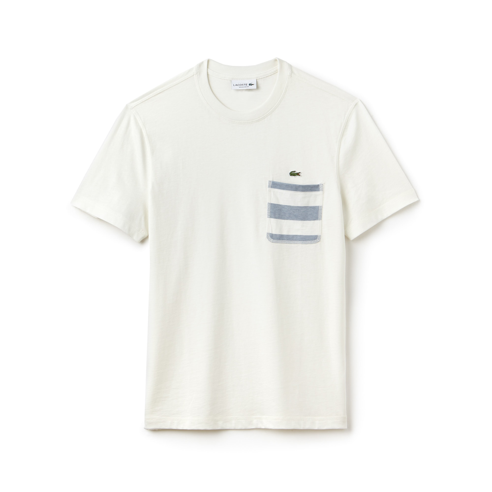 T-shirt decote redondo em jersey de algodão com bolso às riscas