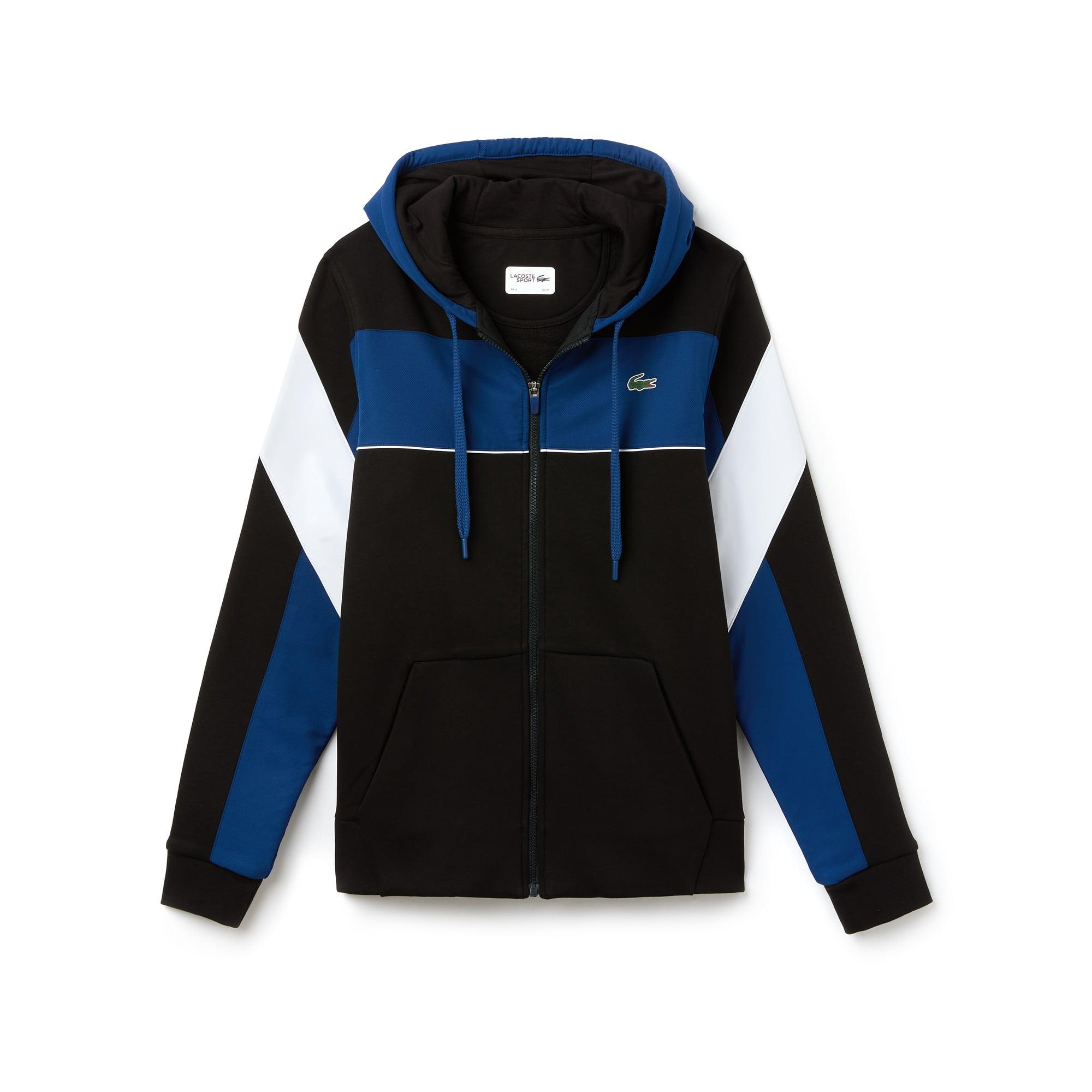 Sweatshirt com fecho de correr e capuz Tennis Lacoste SPORT em moletão color block