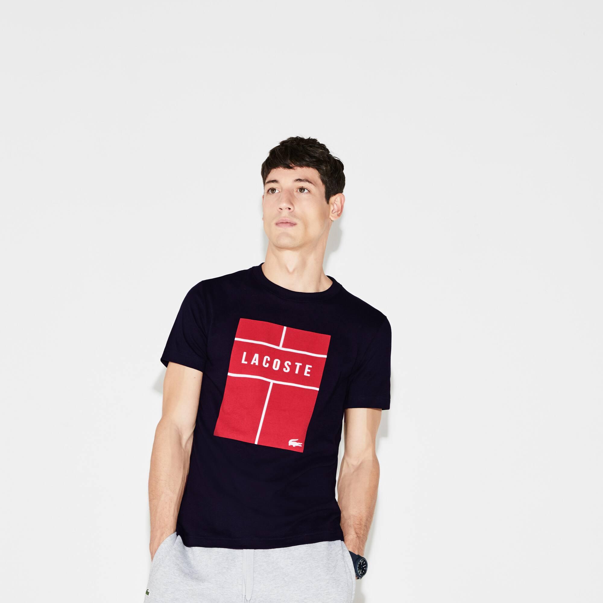 T-shirt decote redondo Tennis Lacoste SPORT em jersey técnico com marcação
