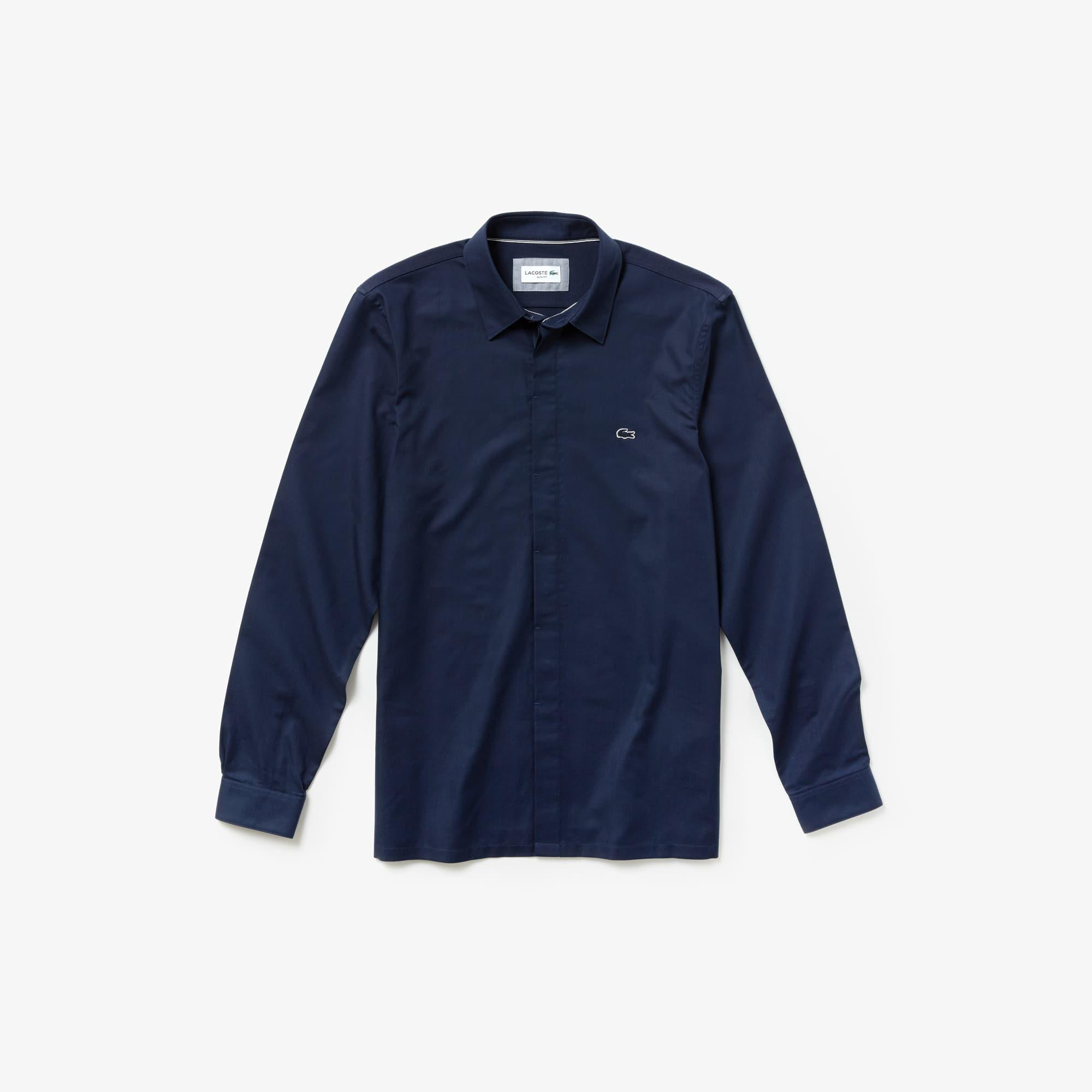 Camisa slim fit Lacoste Motion em mini piqué de algodão unicolor