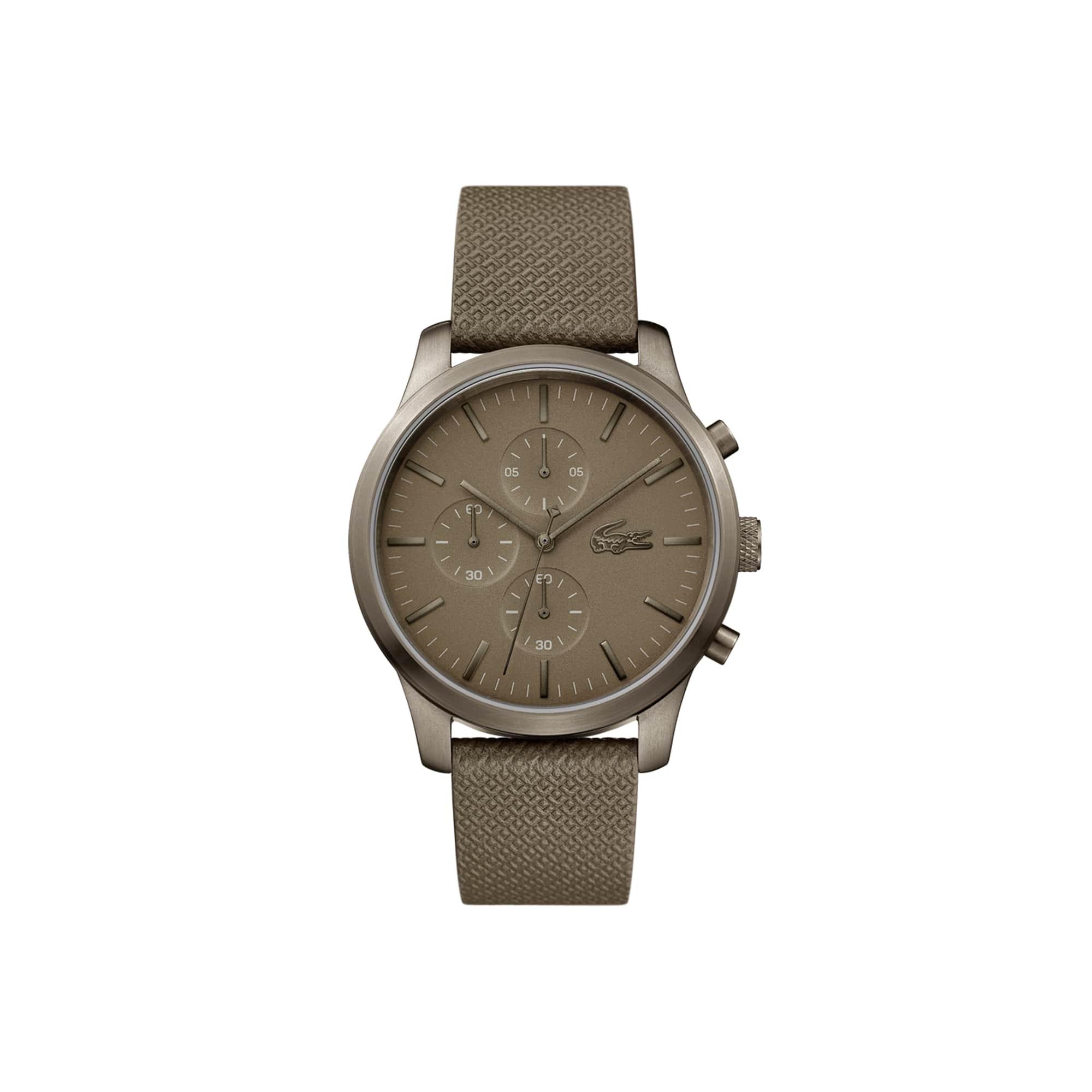 Relógio cronógrafo Lacoste 12.12 de homem do 85º aniversário com uma bracelete de pele gravada com Petit Piqué em caqui