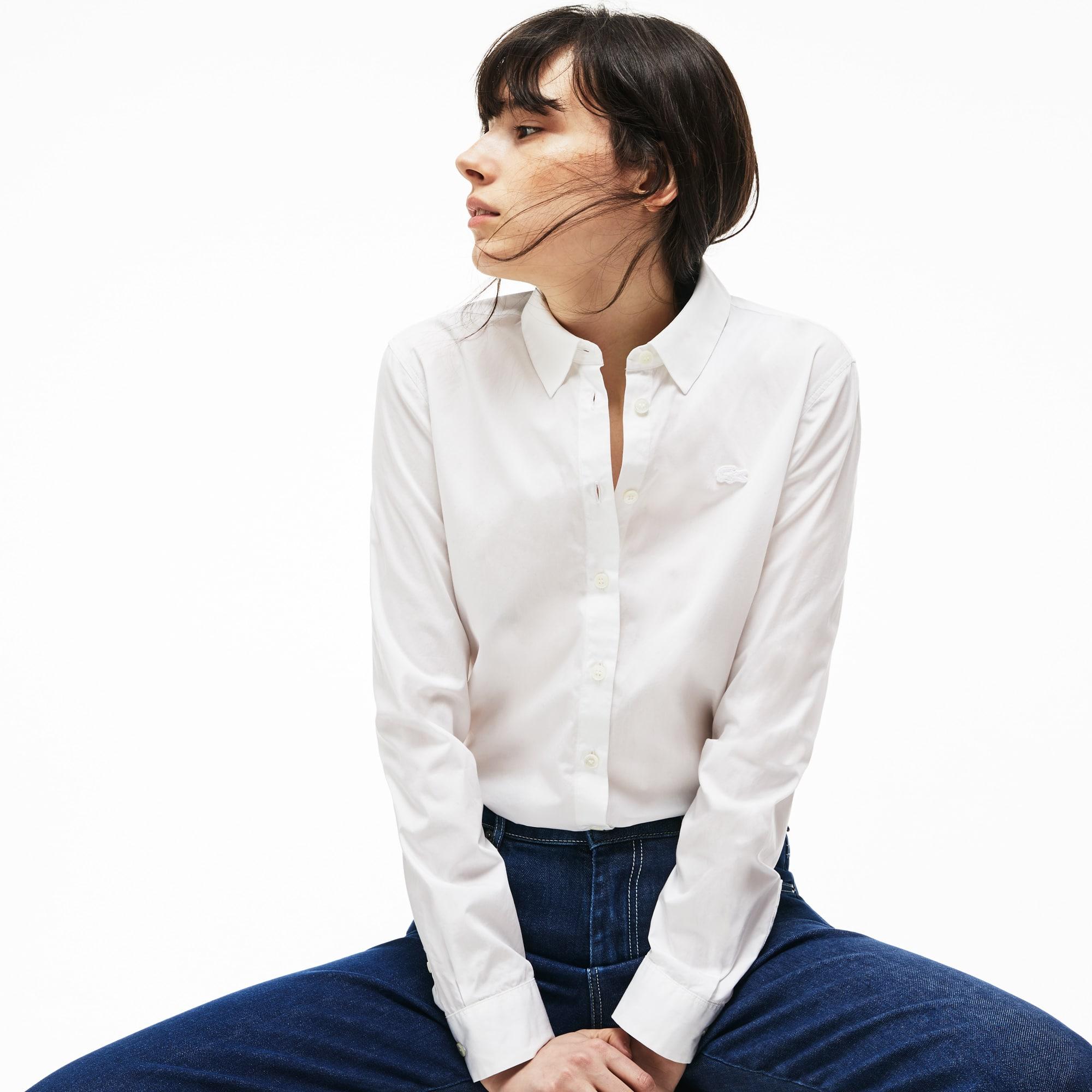 Camisa regular fit em popelina de algodão unicolor