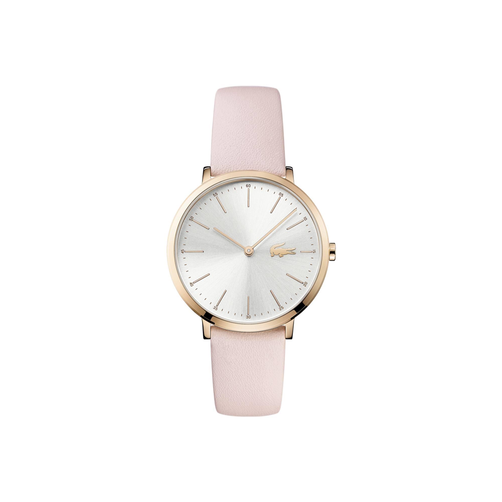 Relógio ultra slim Moon de mulher com bracelete de pele rosa