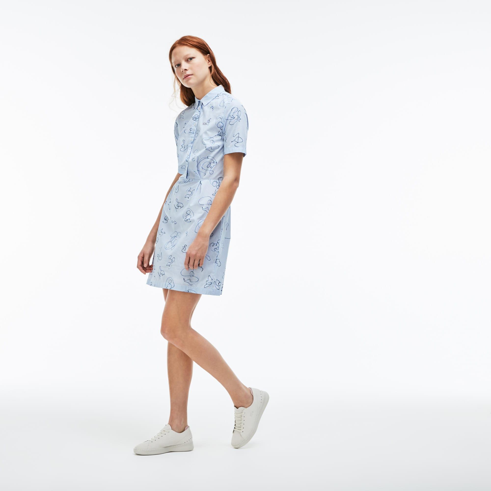 Vestido camisa Lacoste LIVE em popelina de algodão às riscas com impressão