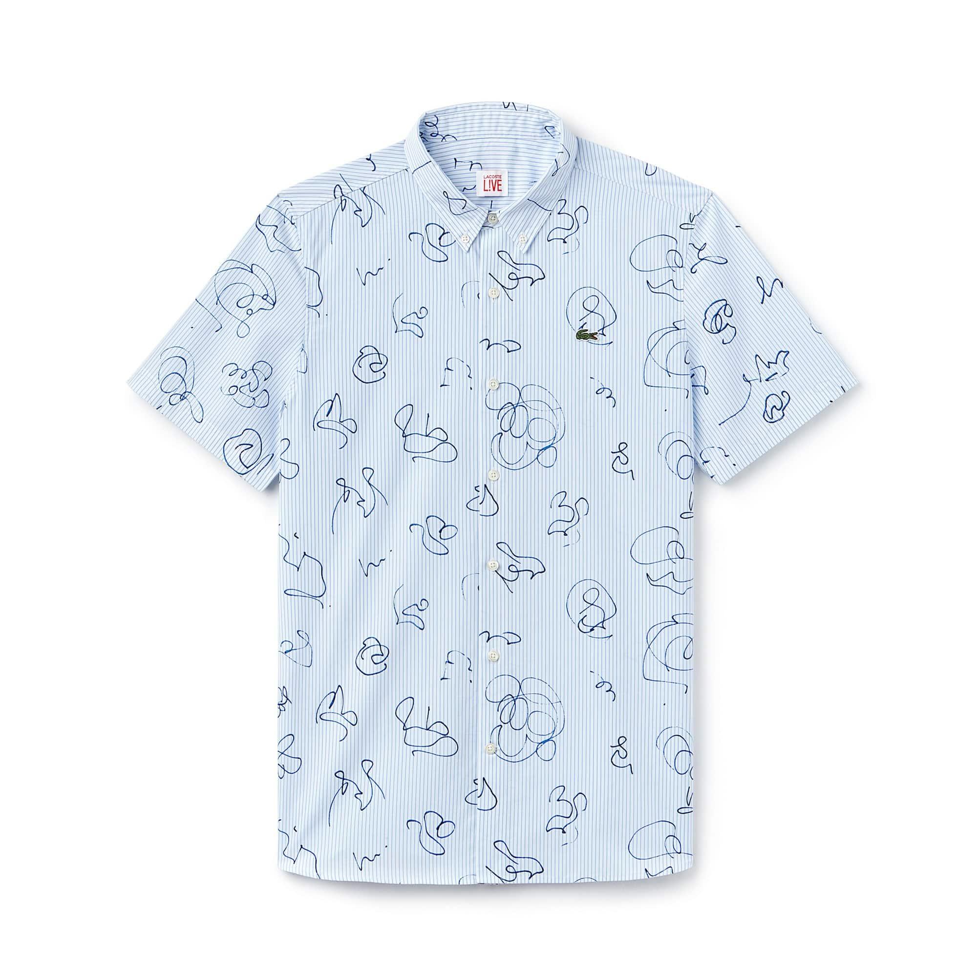 Camisa Lacoste LIVE de manga curta em popelina às riscas com impressão