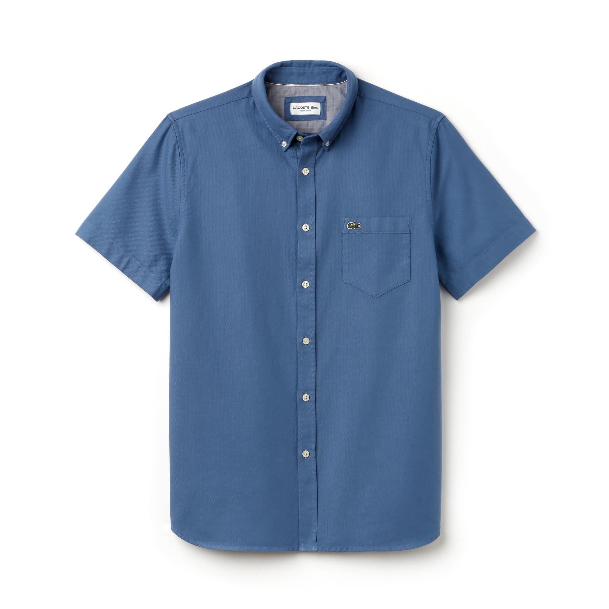 Camisa regular fit de manga curta em piqué unicolor