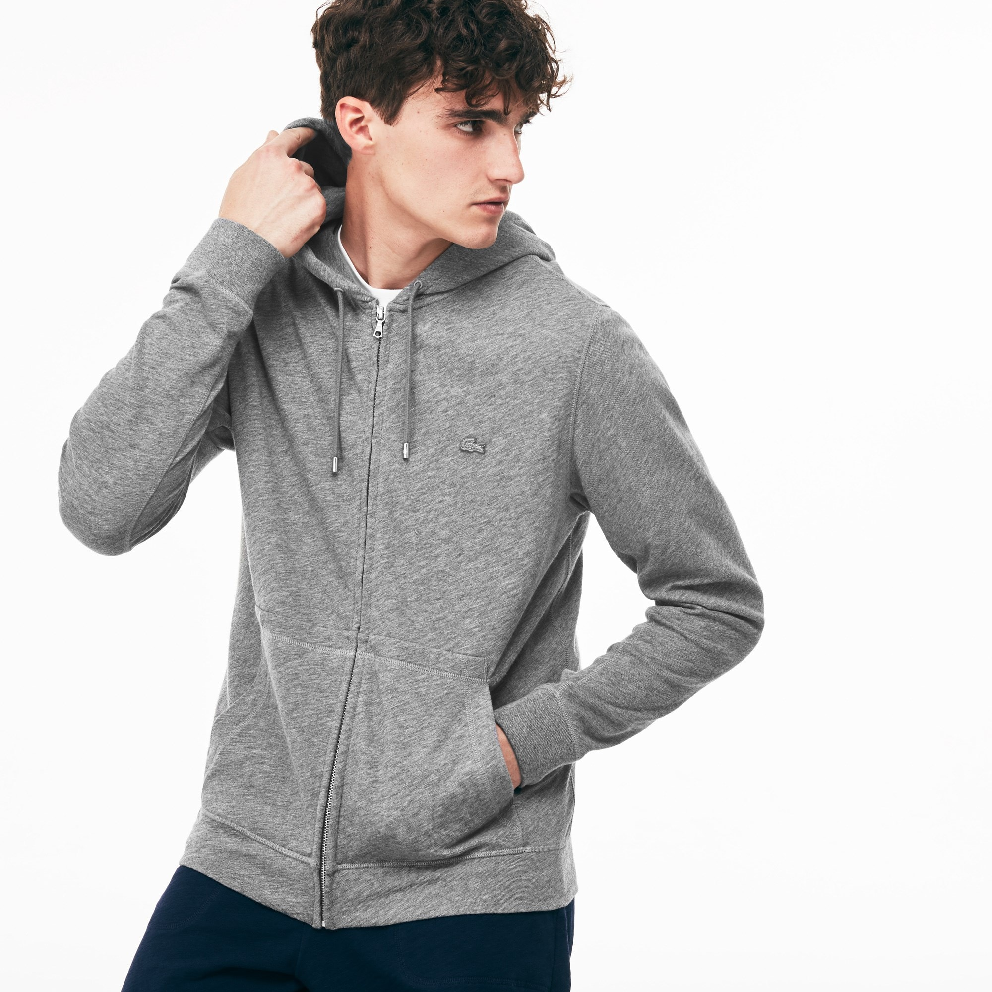 Sweatshirt com fecho de correr e capuz Lacoste MOTION em moletão de algodão unicolor