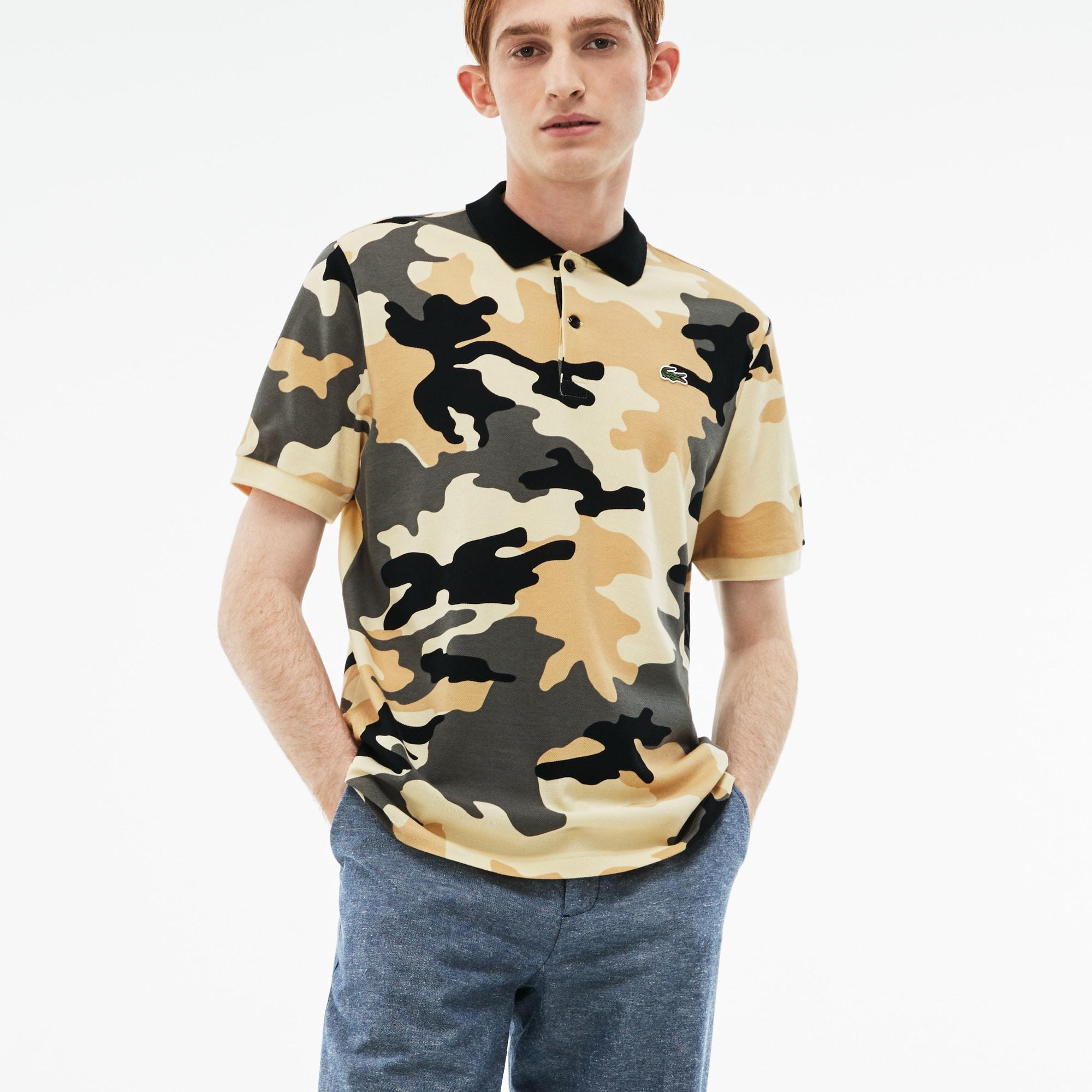 Polo regular fit Lacoste LIVE em mini piqué com impressão camuflagem