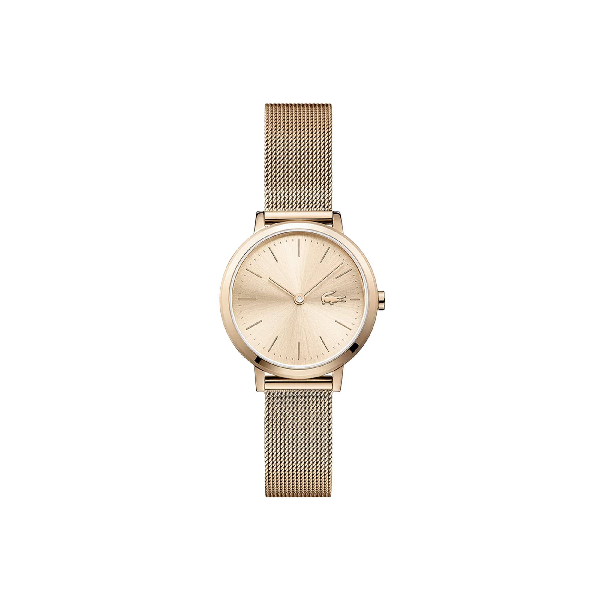 Relógio ultra slim Mini Moon de mulher com bracelete de rede cromada em ouro rosa