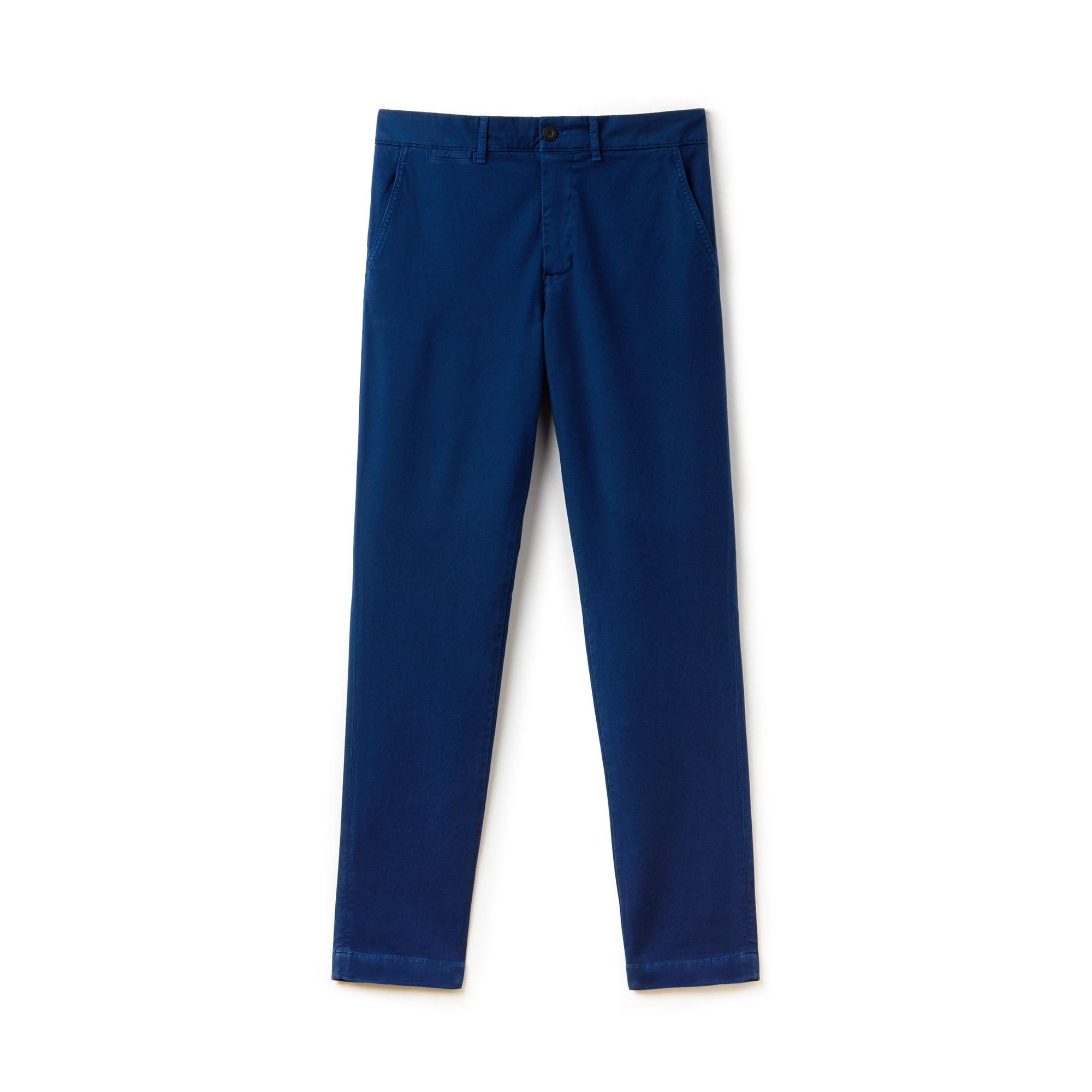 Calças chino slim fit em algodão stretch texturado