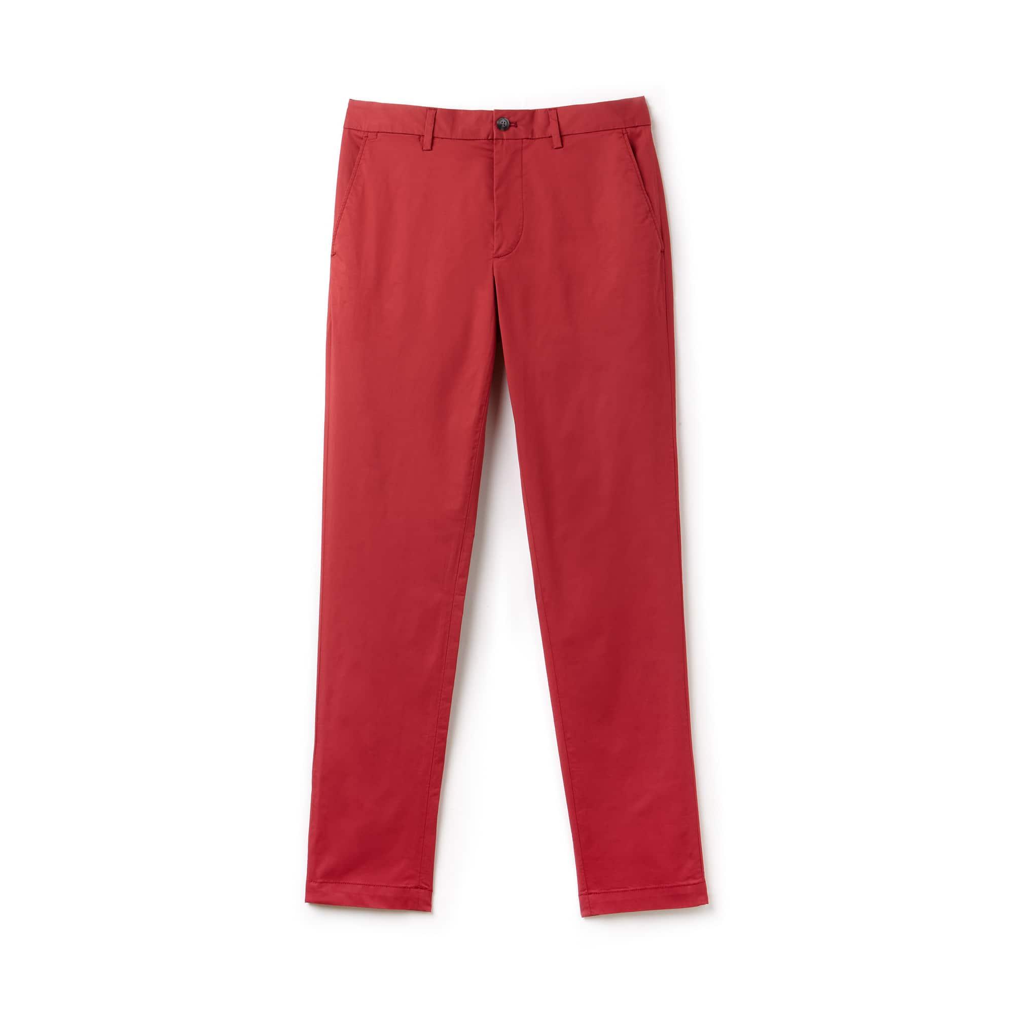 Calças chino slim fit em gabardina stretch unicolor