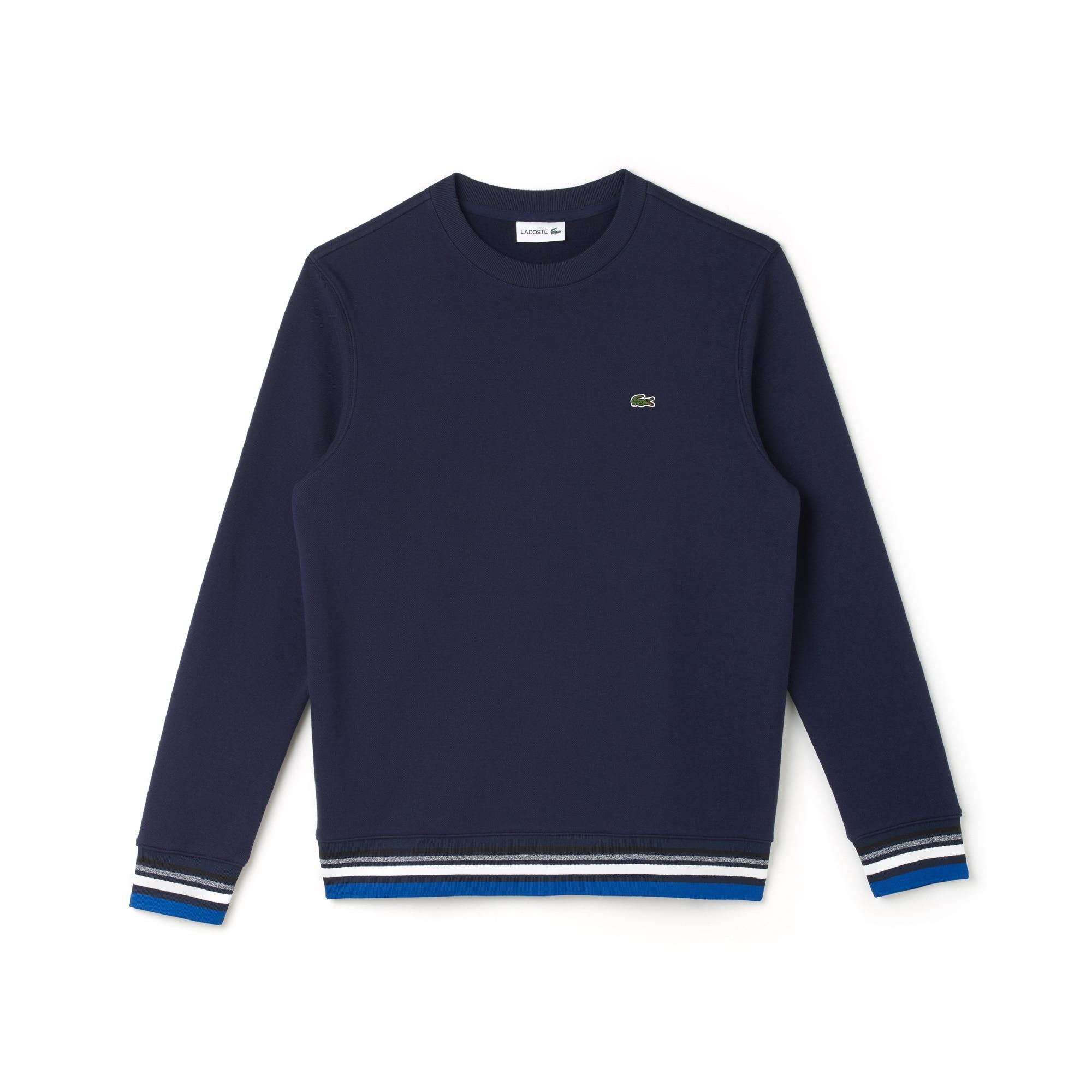 Sweatshirt em moletão com pormenores às riscas
