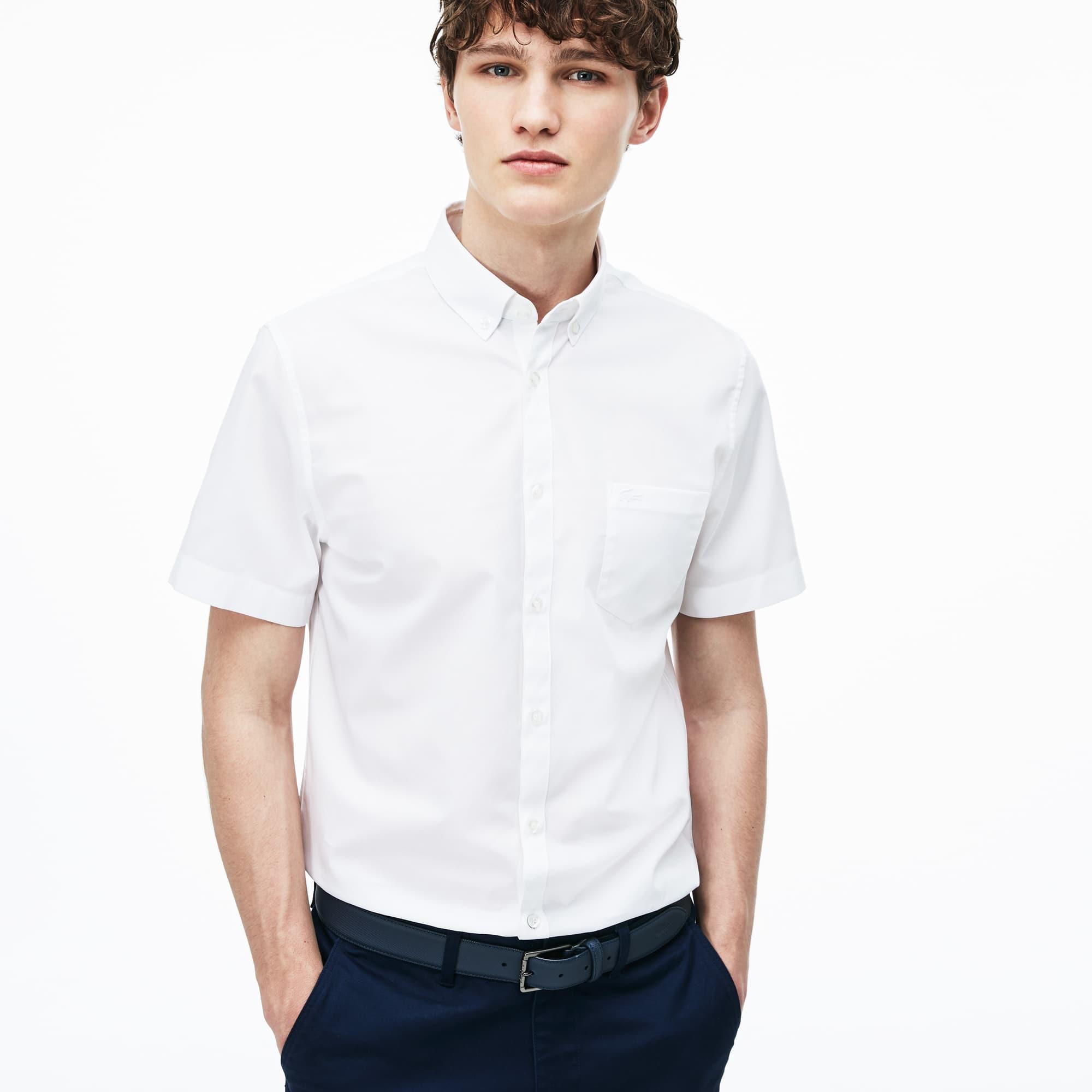 Camisa Regular Fit de manga curta em algodão fil-à-fil unicolor