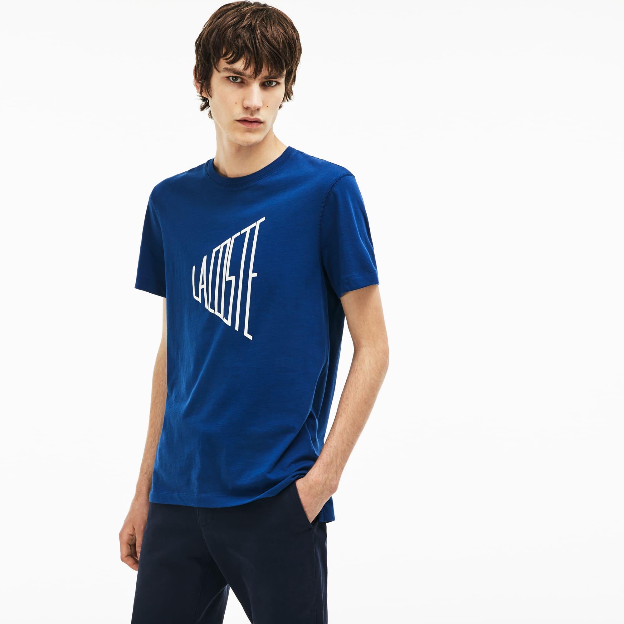 T-shirt decote redondo em jersey de algodão com marcação Lacoste