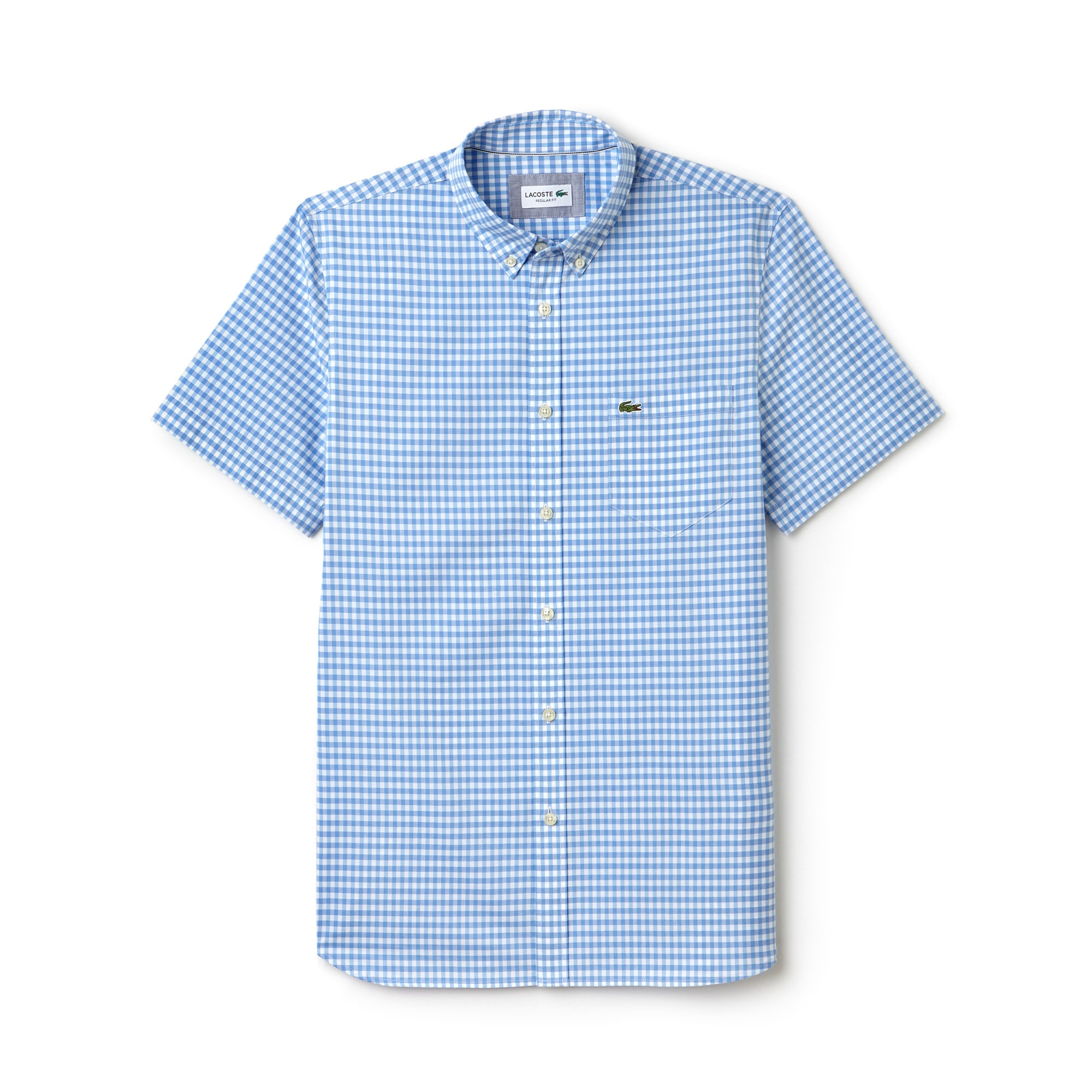Camisa Regular Fit de manga curta em popelina vichy
