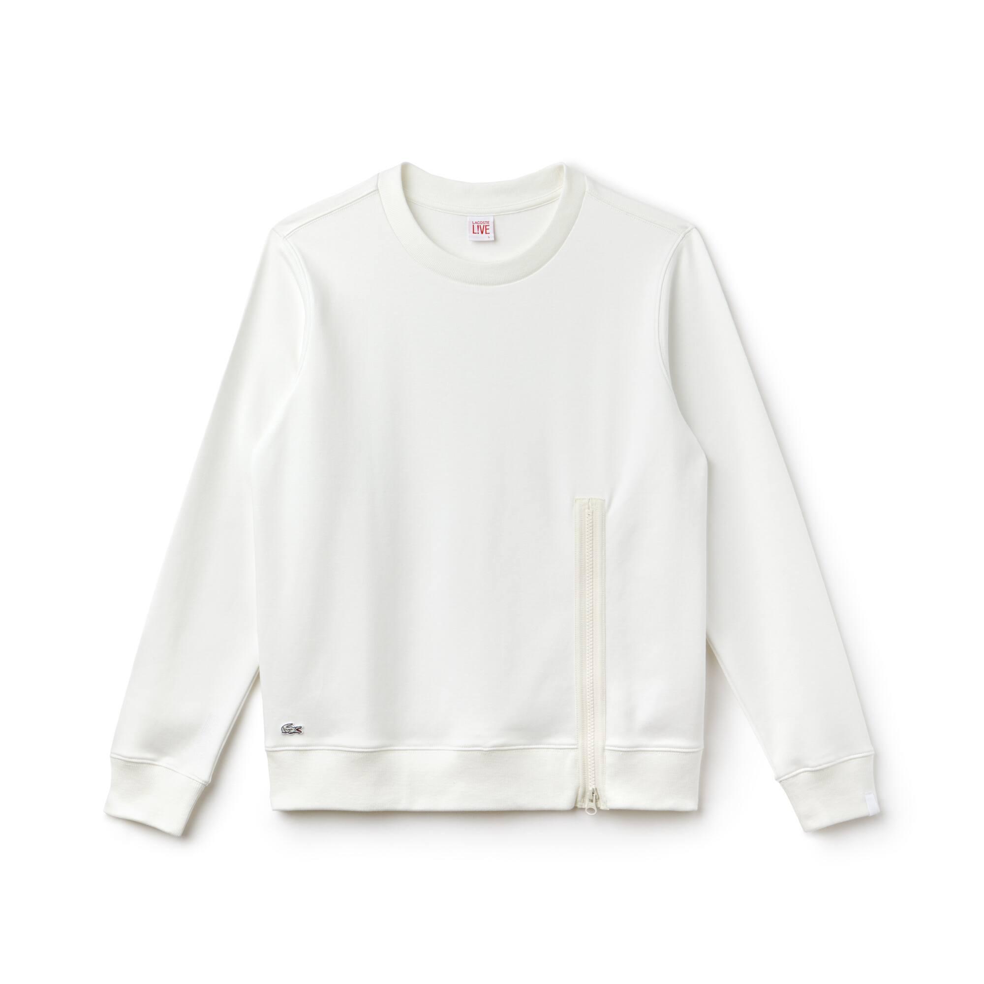 Sweatshirt decote redondo Lacoste LIVE em interlock com fecho de correr