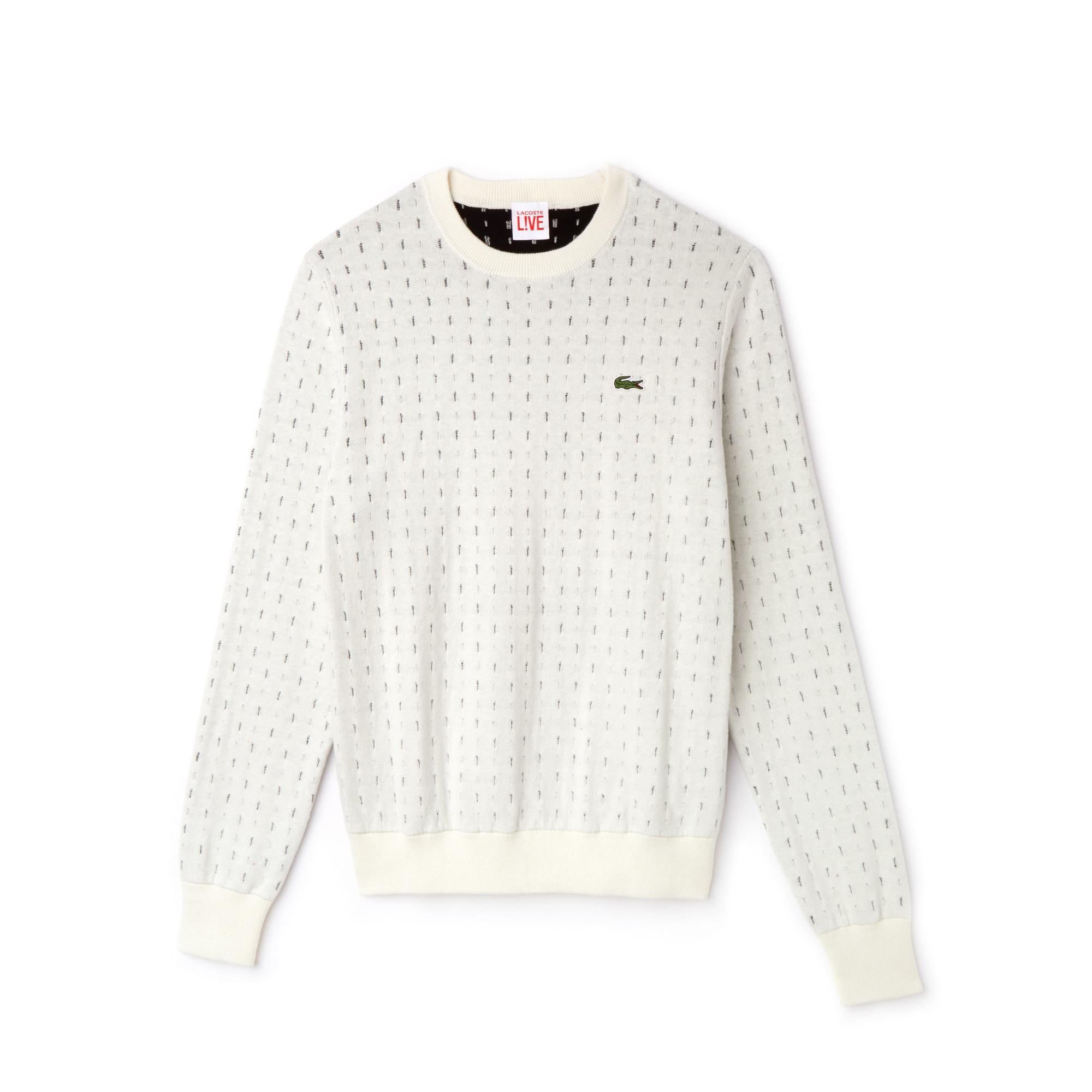 Camisola com decote redondo Lacoste LIVE em jacquard de algodão e caxemira com impressão