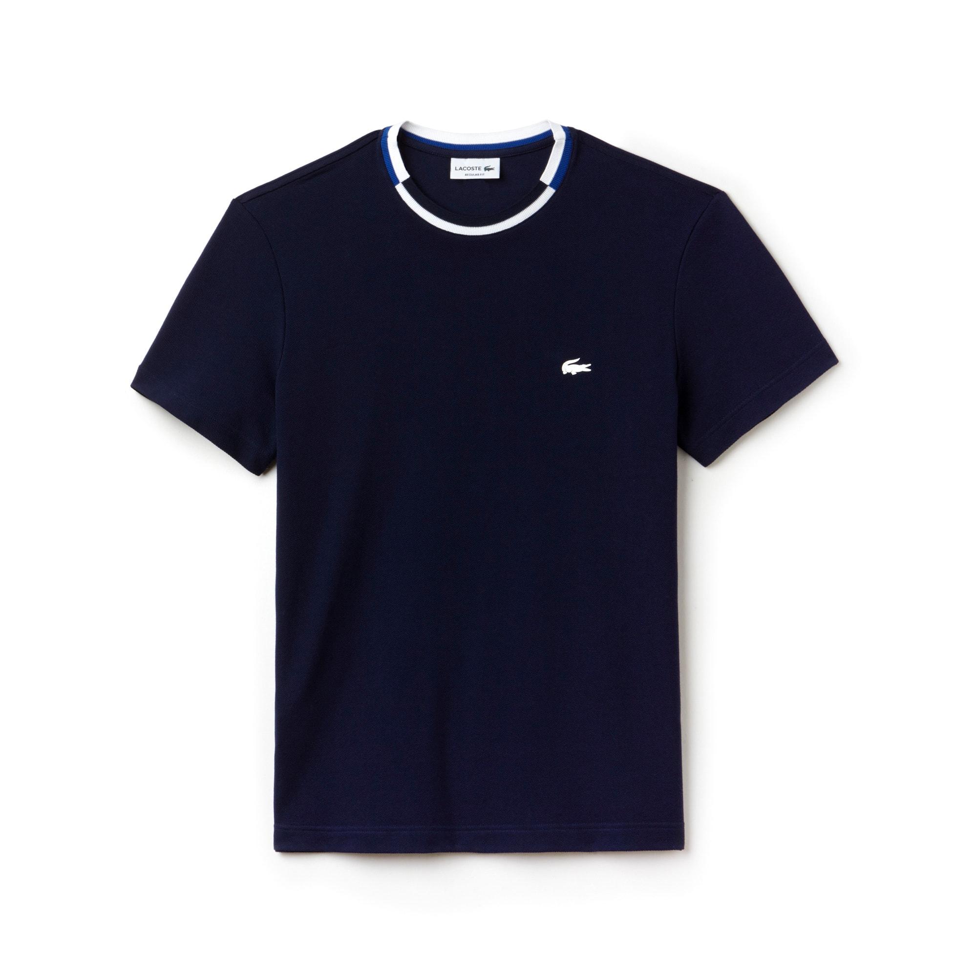 T-shirt decote redondo às riscas em petit piqué unicolor