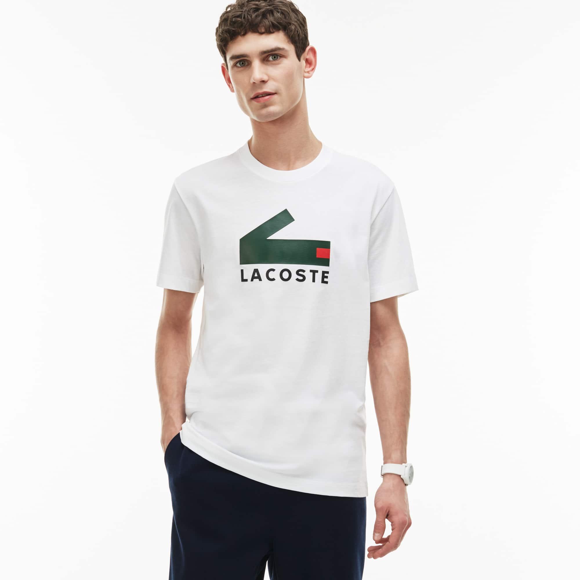 T-shirt decote redondo em jersey de algodão com marcação crocodilo gráfico