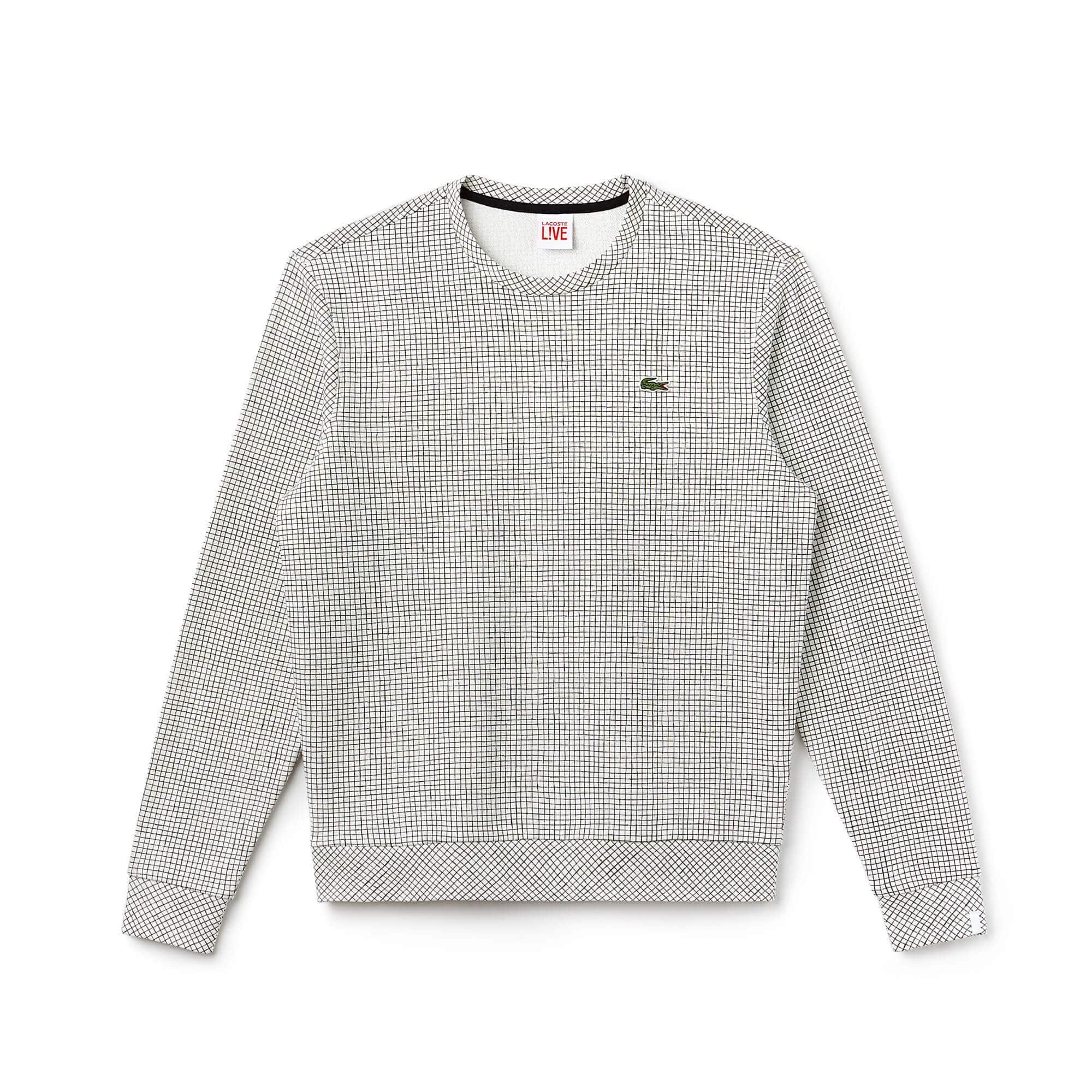 Sweatshirt decote redondo Lacoste LIVE em moletão aos quadradinhos