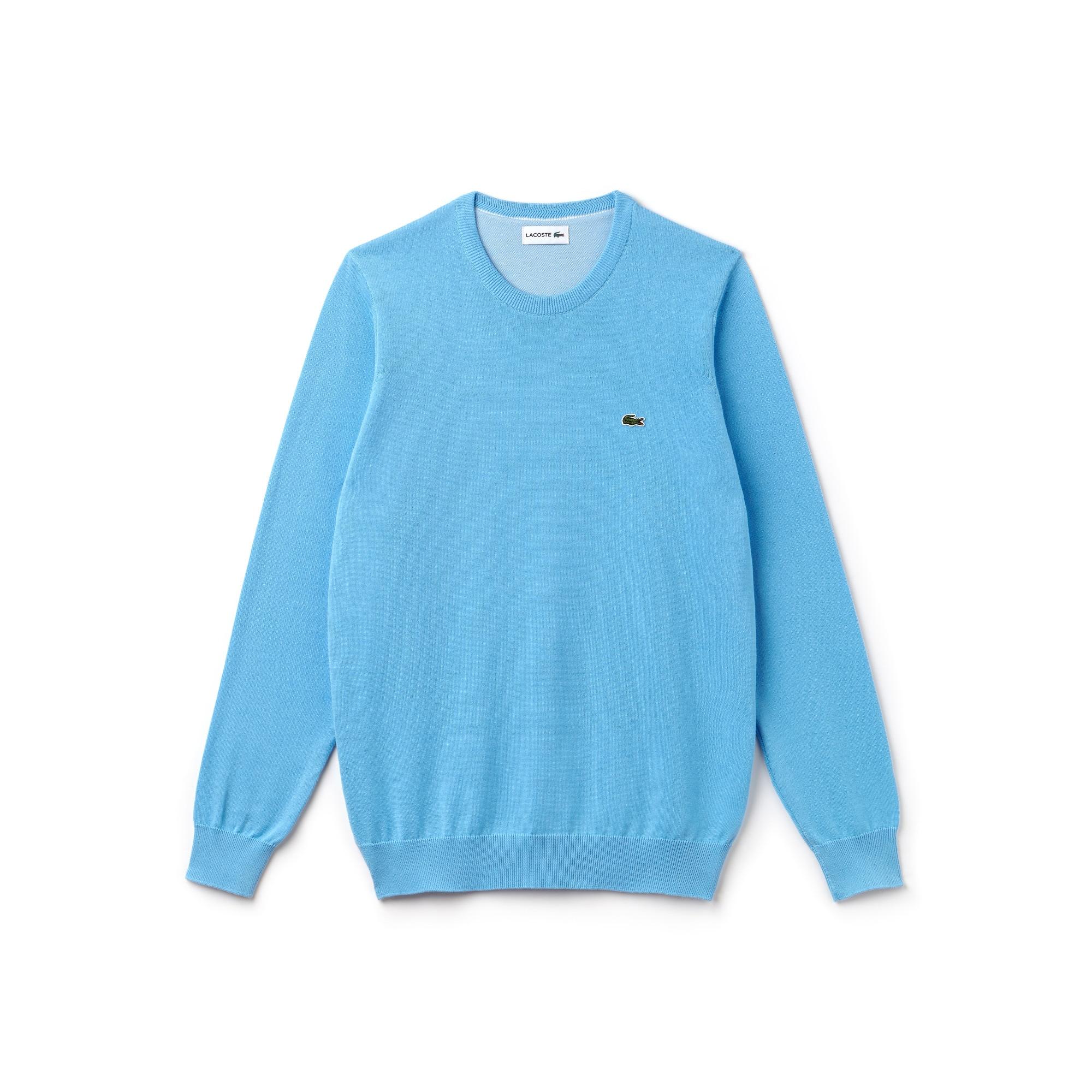 Camisola decote redondo em jersey de algodão unicolor e detalhe de piqué caviar
