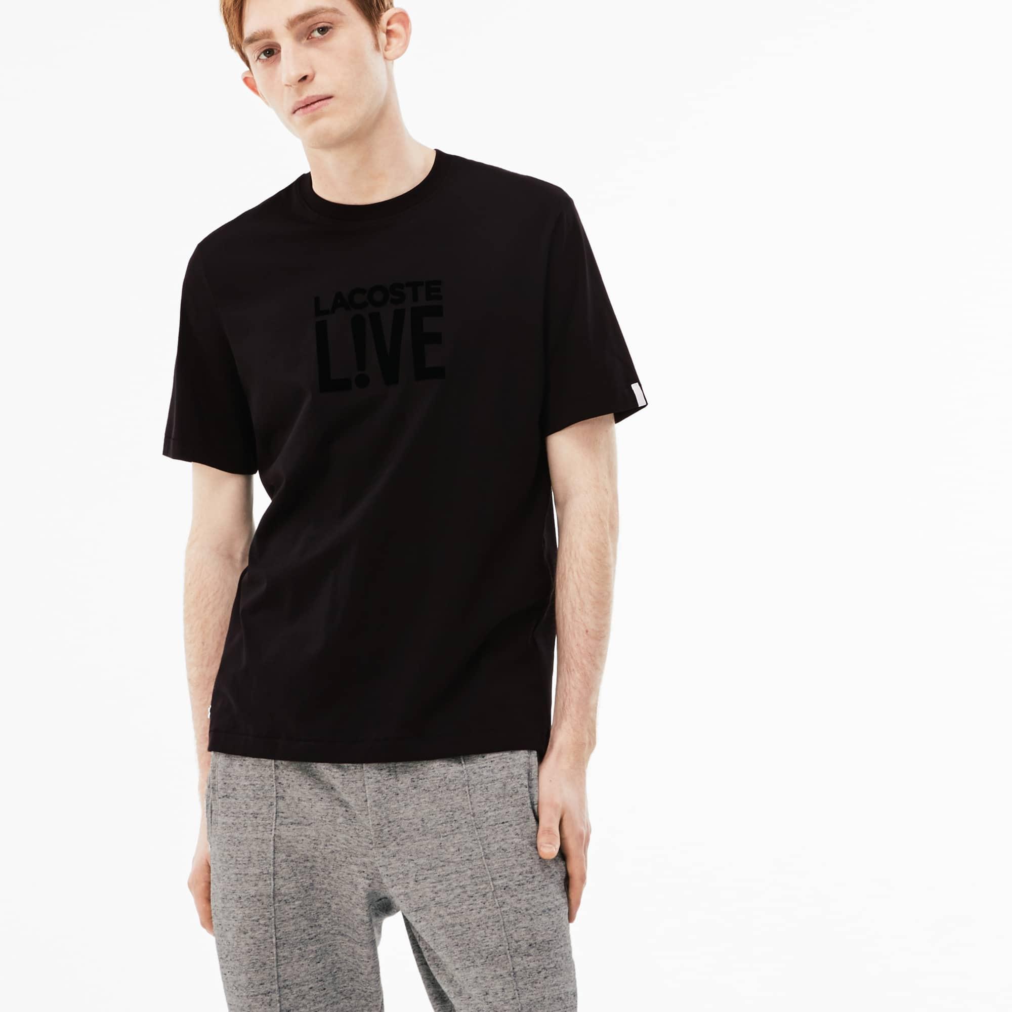 T-shirt decote redondo Lacoste LIVE em jersey com logótipo em veludo