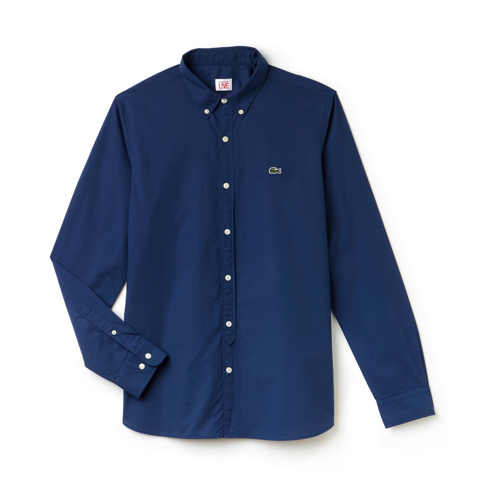 Camisa slim fit Lacoste LIVE em popelina de algodão unicolor