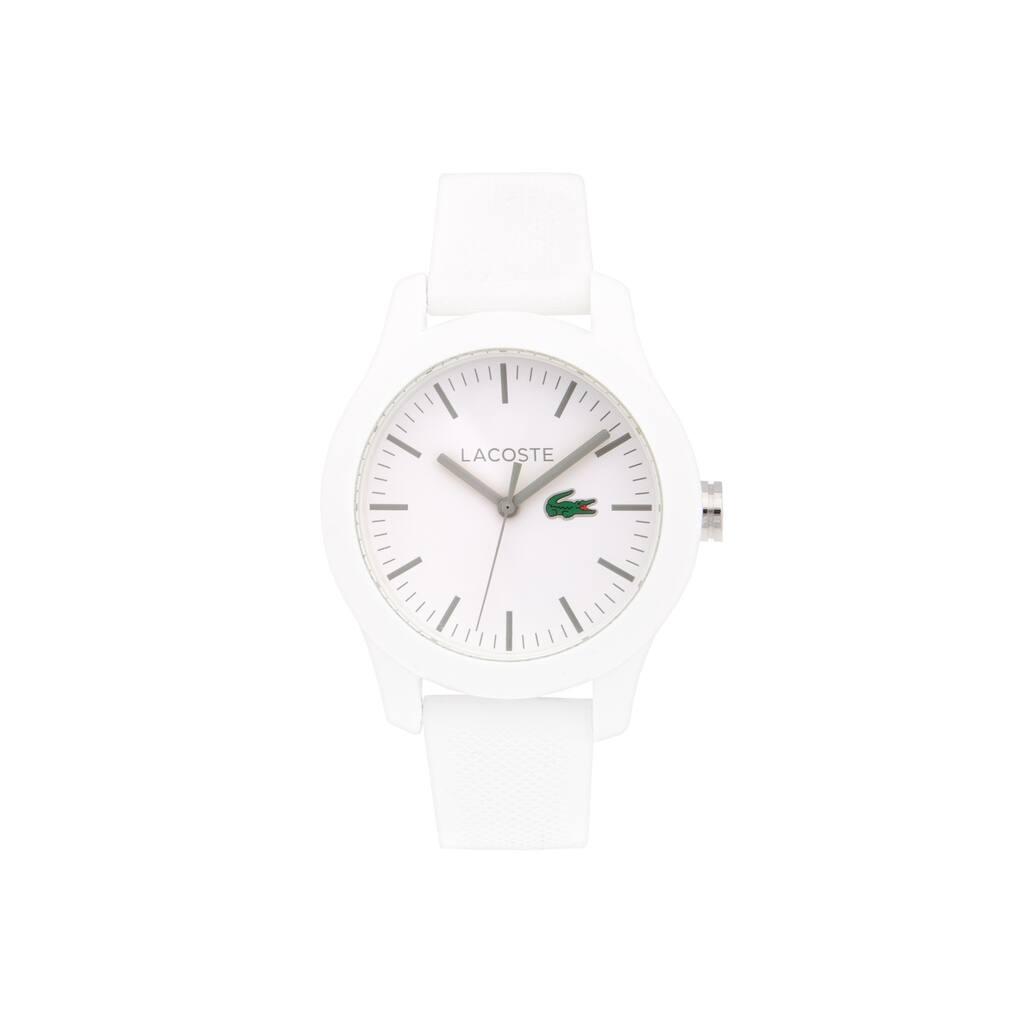 e1b095343d5b4 Relógio Lacoste 12.12 de homem com bracelete de silicone branca ...