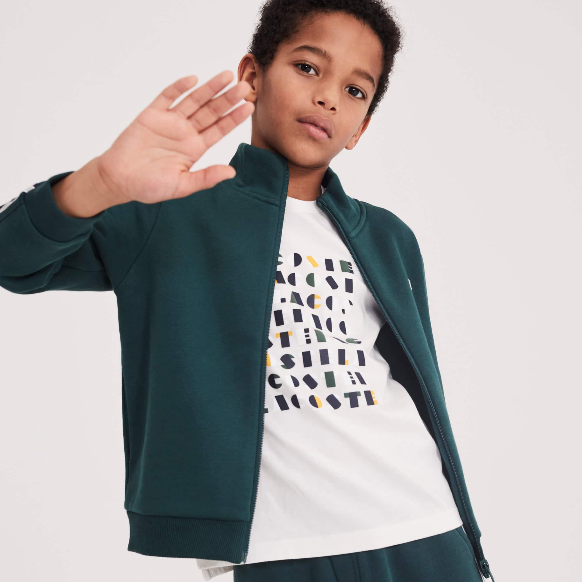 T-shirt Menino decote redondo em jersey de algodão com marcação gráfica Lacoste