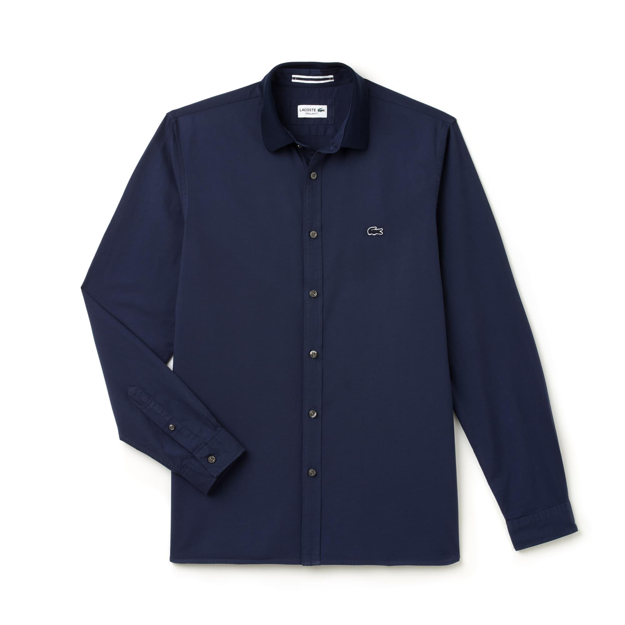 Camisa Regular Fit em algodão Oxford com colarinho canelado