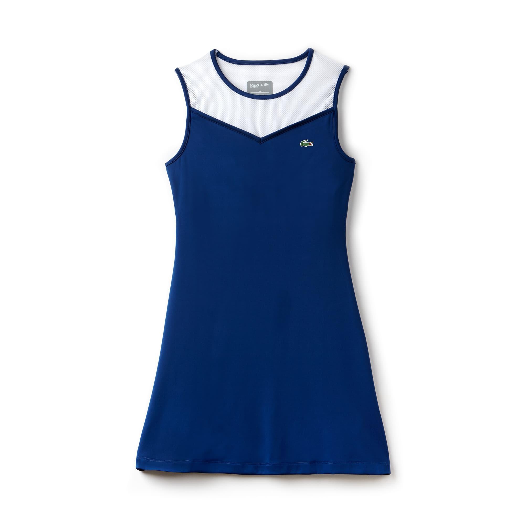 Vestido decote nadador nas costas Tennis Lacoste SPORT em jersey técnico e mesh