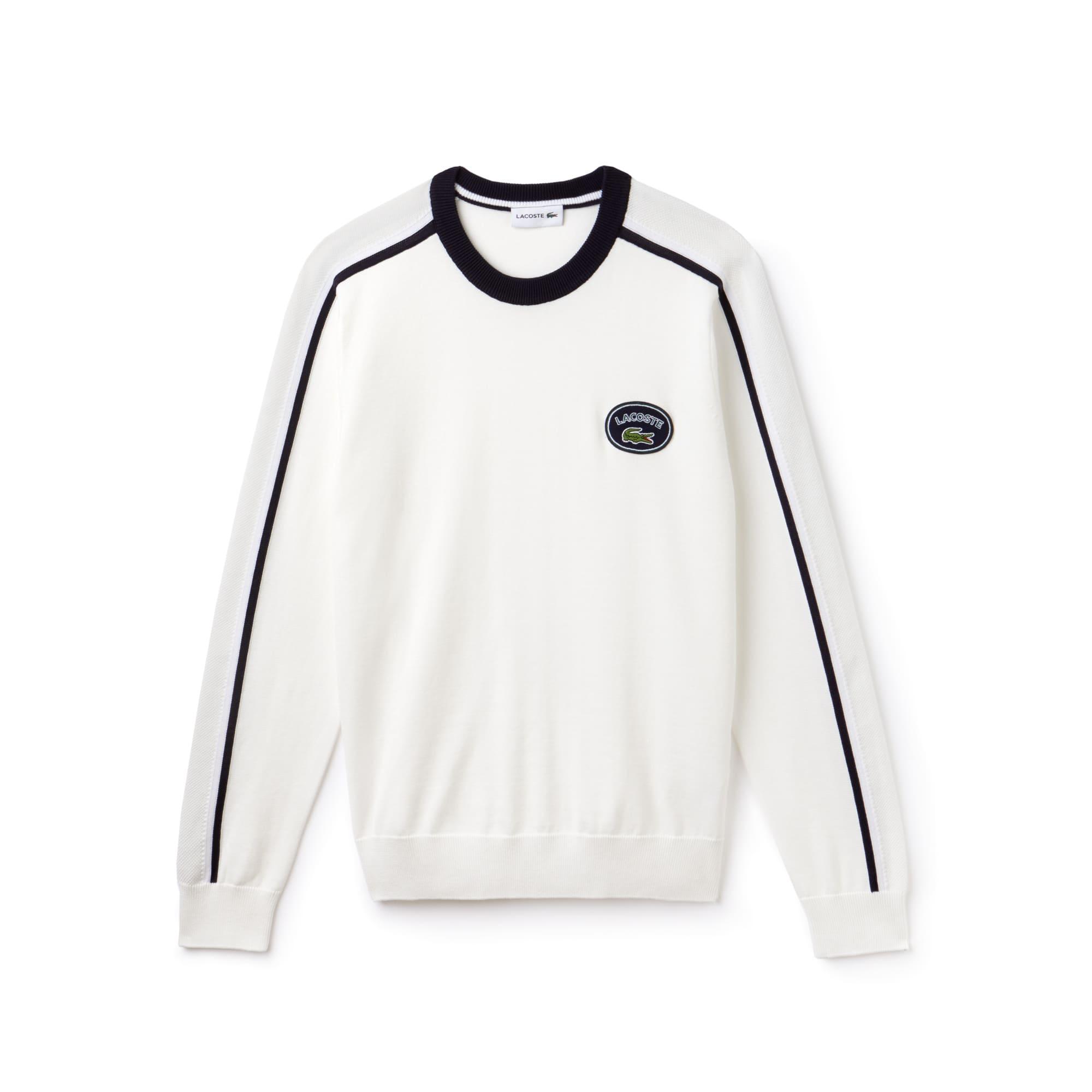 Camisola com decote redondo em jersey de algodão com pormenores a contrastar
