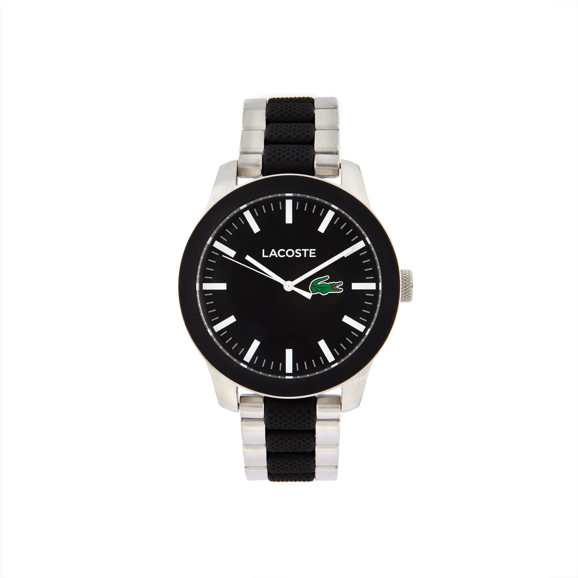 Relógio Lacoste 12.12 de homem com bracelete de aço inoxidável e silicone preto de dois materiais