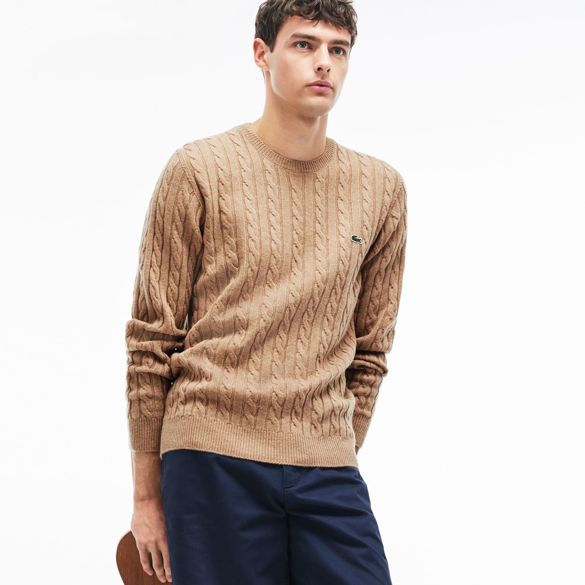 Camisola decote redondo em lã entrançada com efeito malha