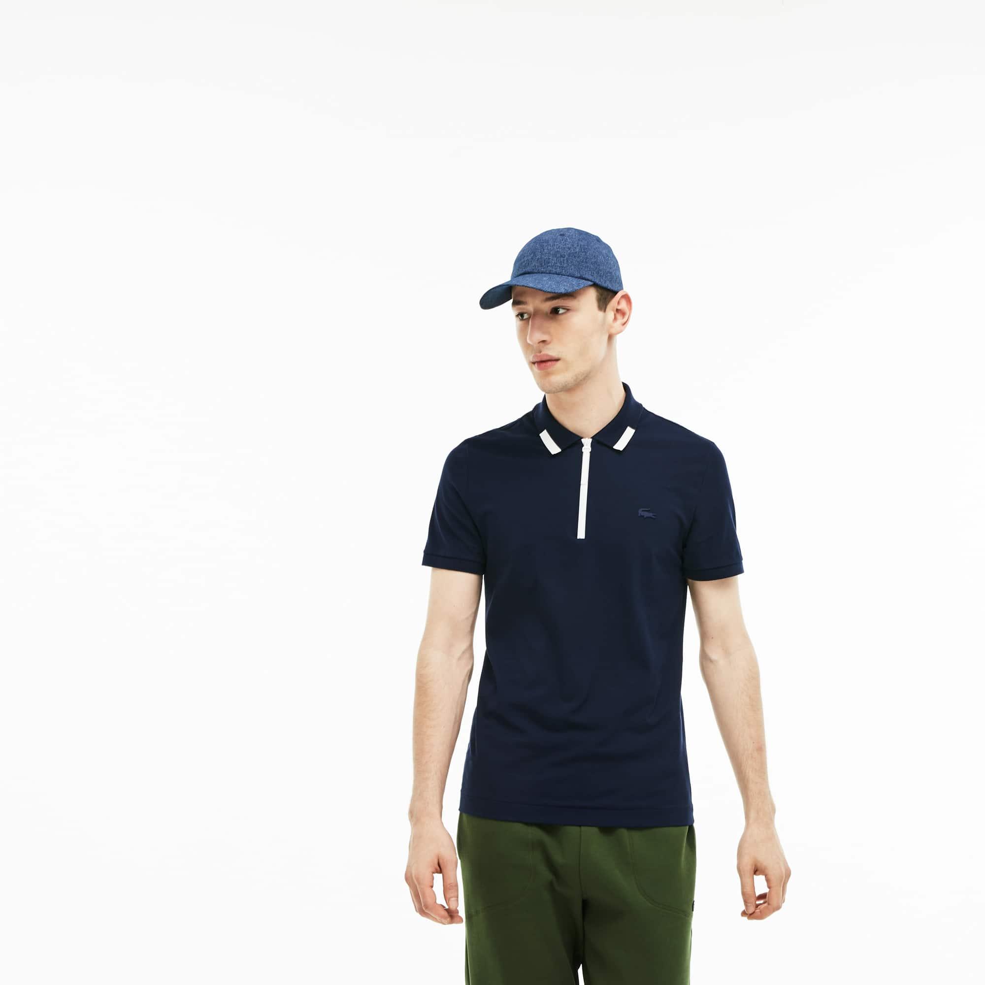 Camisa polo piqué de algodão com gola de zip slim fit Lacoste Motion para  homem 0c35a391fd