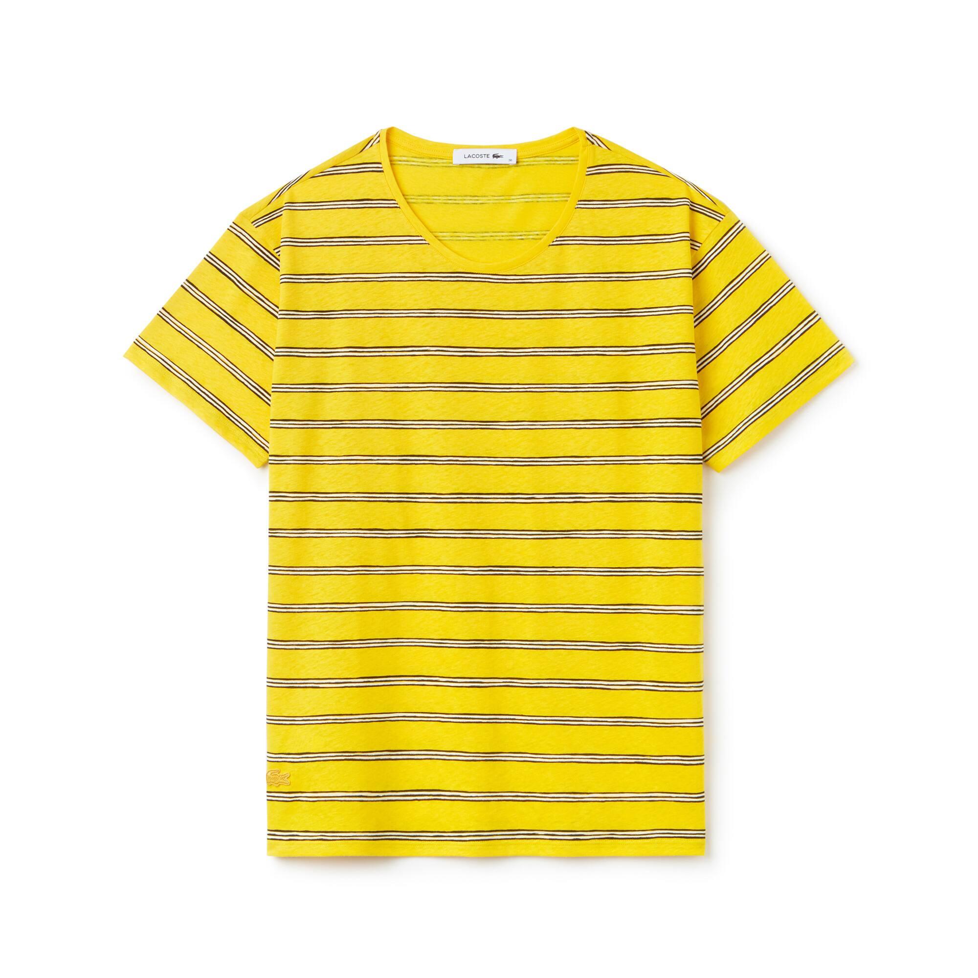 T-shirt decote largo em jersey de algodão e linho às riscas