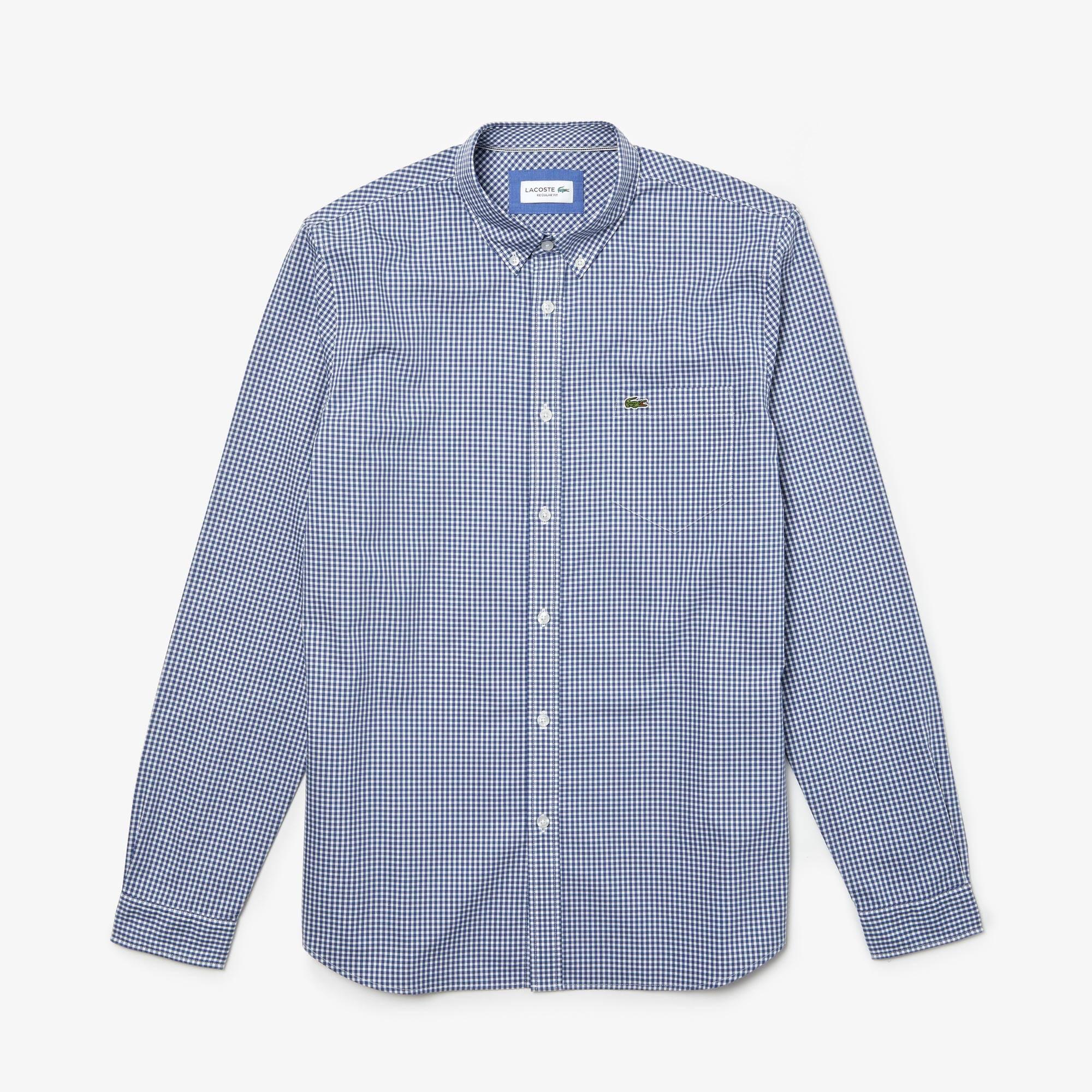 Camisa regular fit Lacoste Motion em popelina aos quadrados