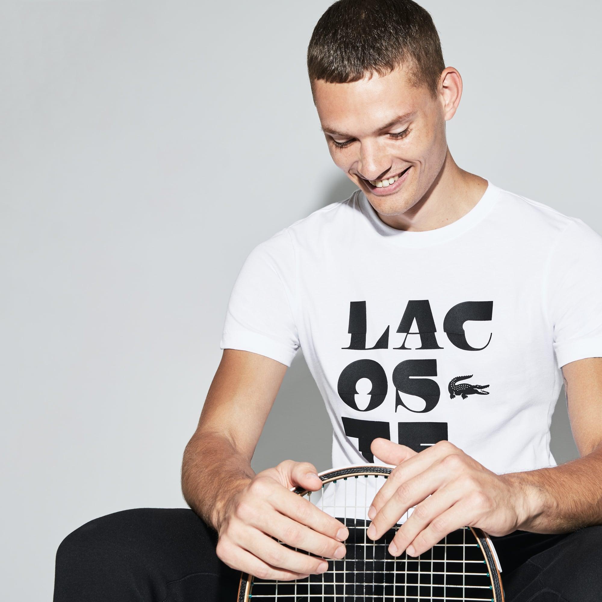 T-shirt decote redondo Tennis Lacoste SPORT em jersey técnico com inscrição