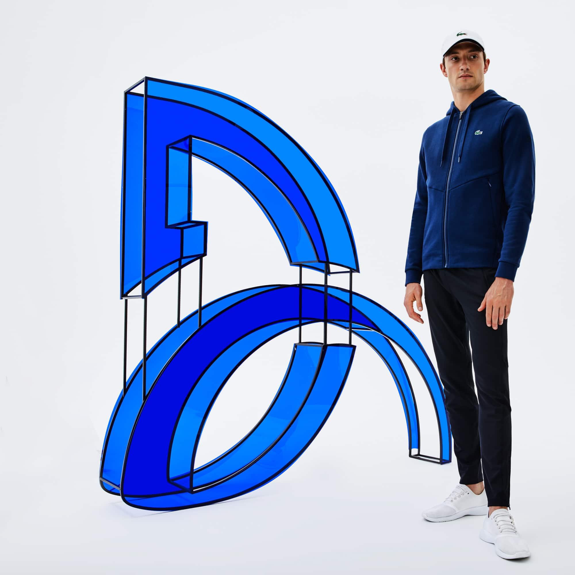 Sweatshirt com fecho de correr e capuz Lacoste SPORT coleção Novak Djokovic - Off Court em moletão técnico unicolor