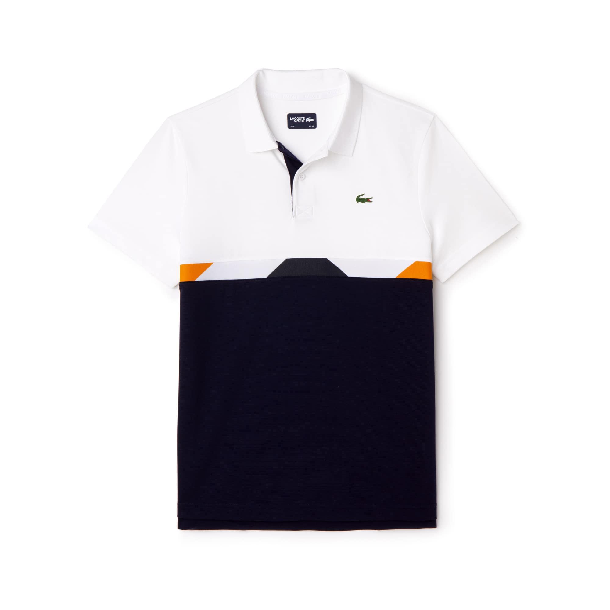 Polo Tennis Lacoste SPORT em algodão superleve com faixa color block