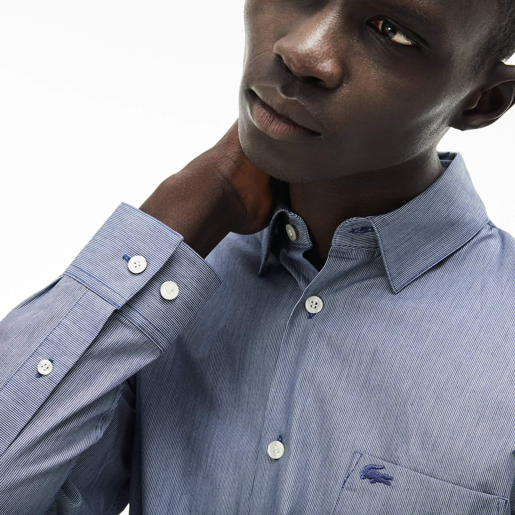 Camisa slim fit em popelina de algodão efeito mesclado