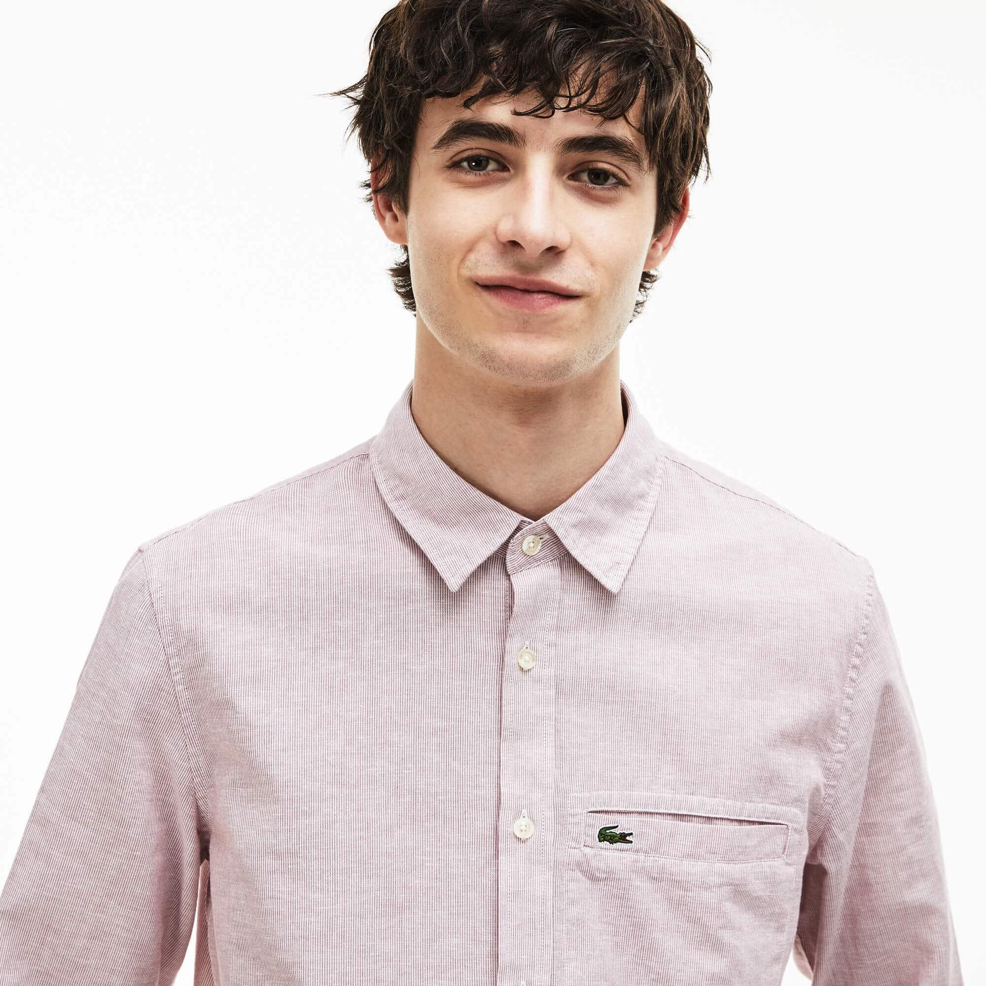 Camisa regular fit em popelina de algodão e linho às riscas