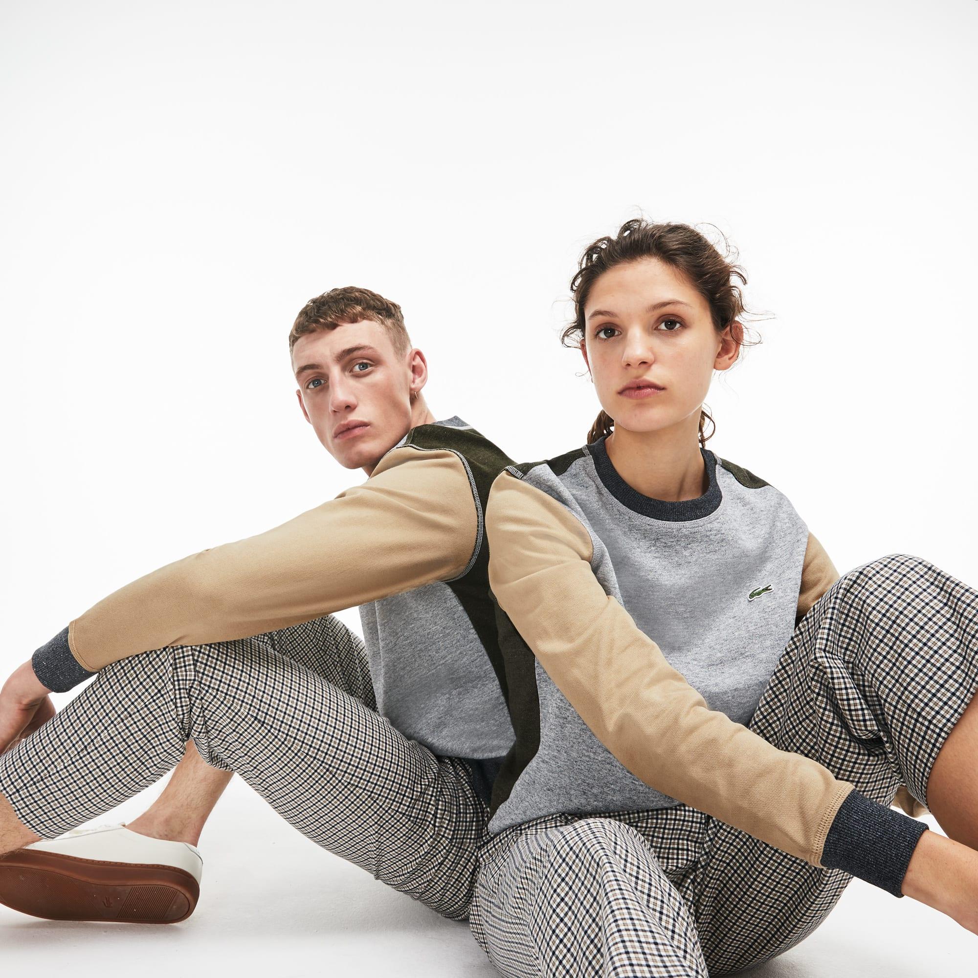 Sweatshirt decote redondo unissexo Lacoste LIVE em moletão de algodão