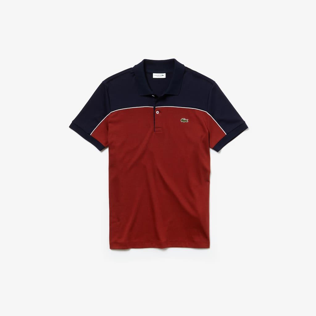 Camisa polo de algodão colorblock piped regular fit Lacoste para homem 2a101f4bd5