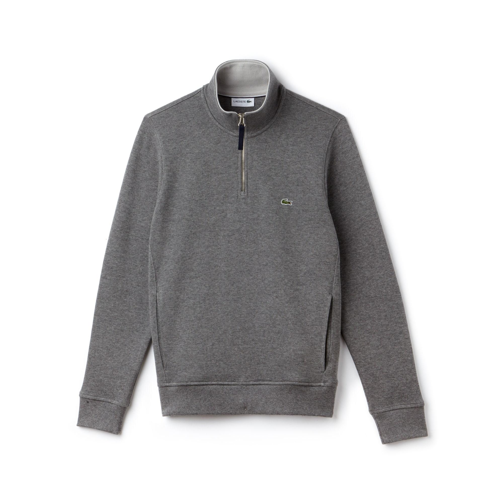 Sweatshirt de gola subida com fecho de correr em interlock canelado