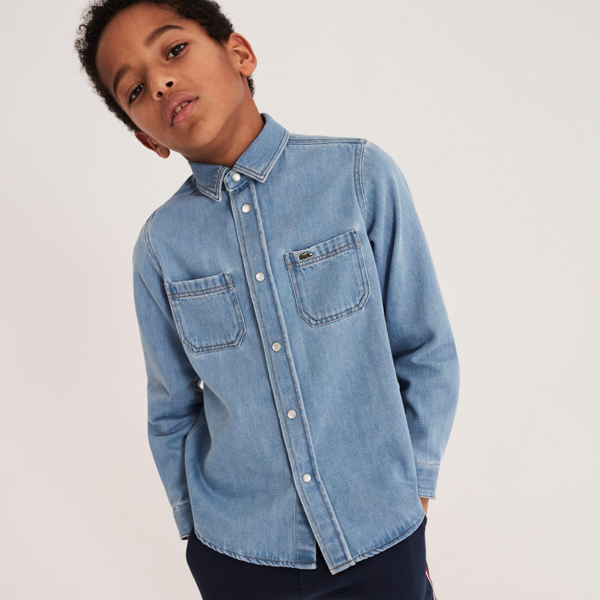 Camisa Menino em ganga de algodão