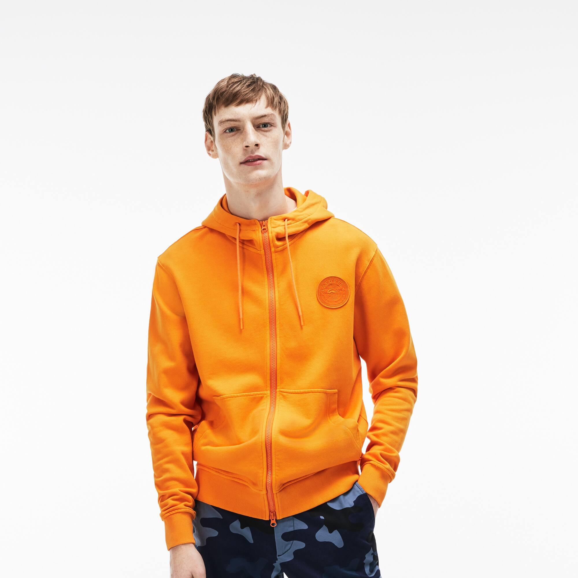 Sweatshirt com fecho de correr e capuz Lacoste LIVE em moletão com crachá