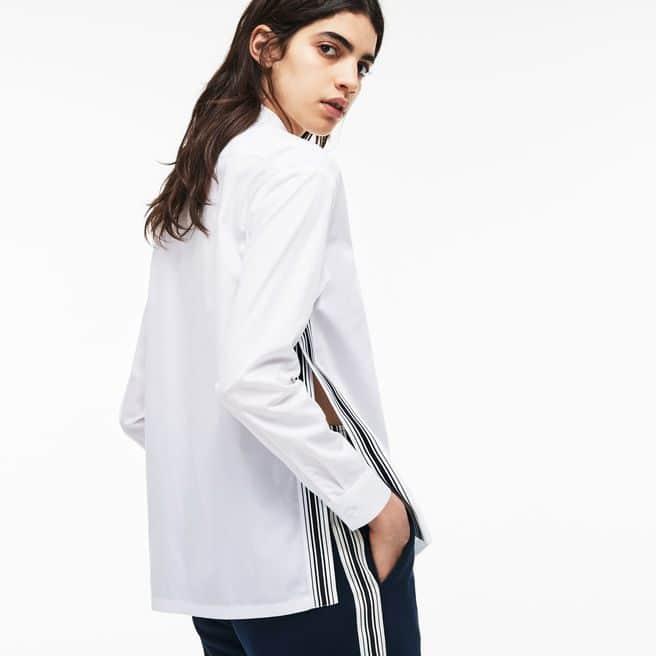 Camisa regular fit em popelina unicolor com faixas a contrastar