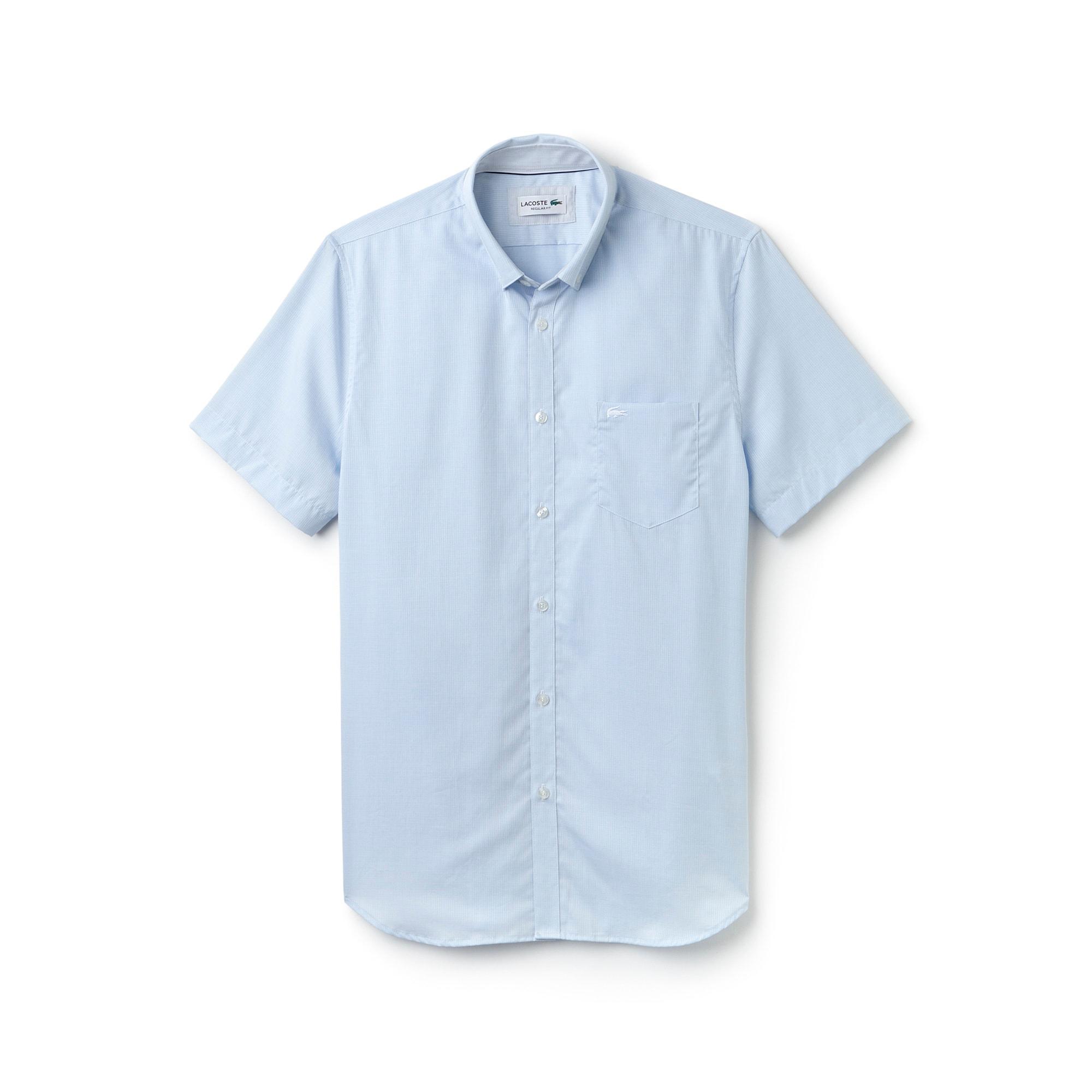 Camisa Regular Fit de manga curta em popelina texturada