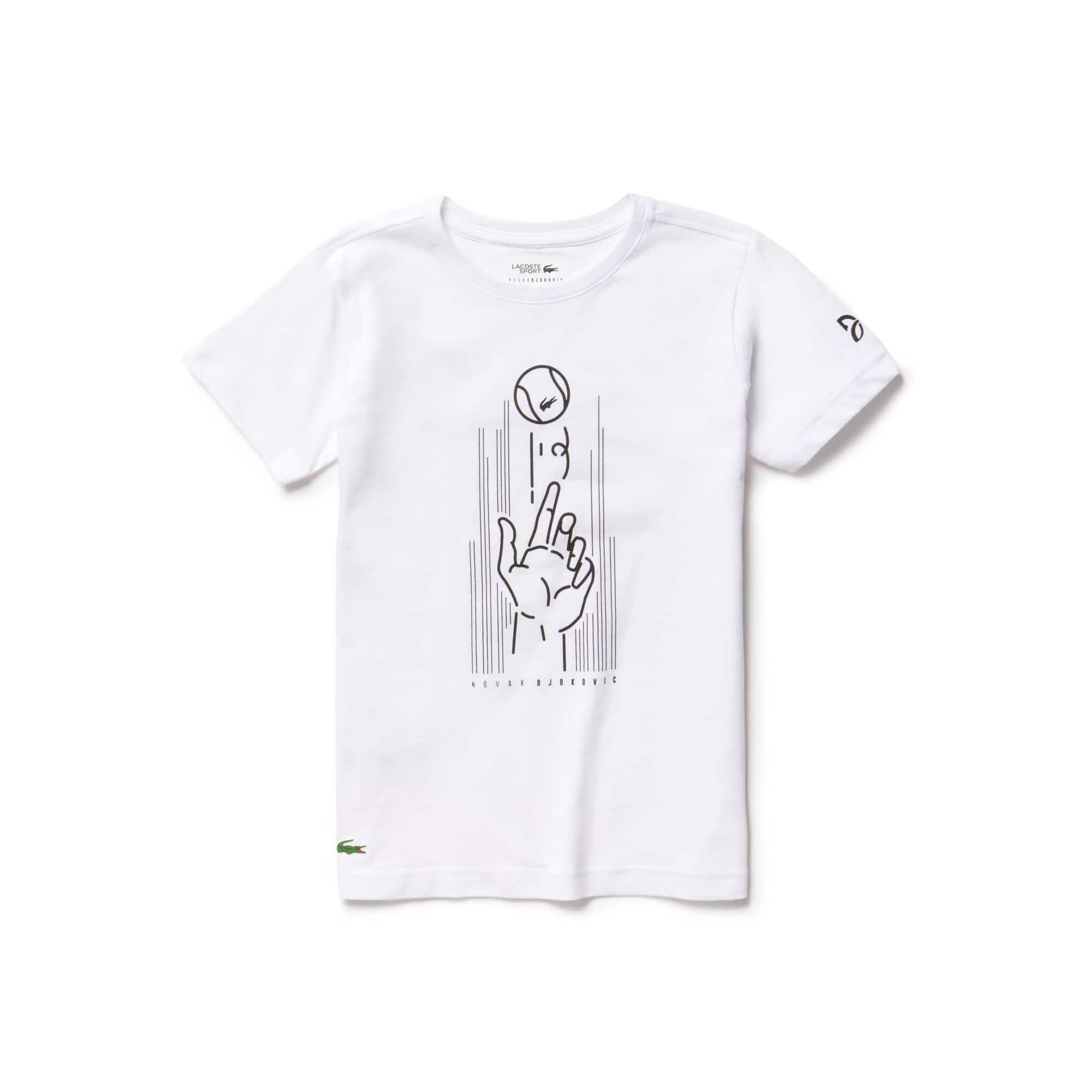 T-shirt Menino Lacoste SPORT coleção Novak Djokovic Support With Style - Off Court em jersey técnico com impressão